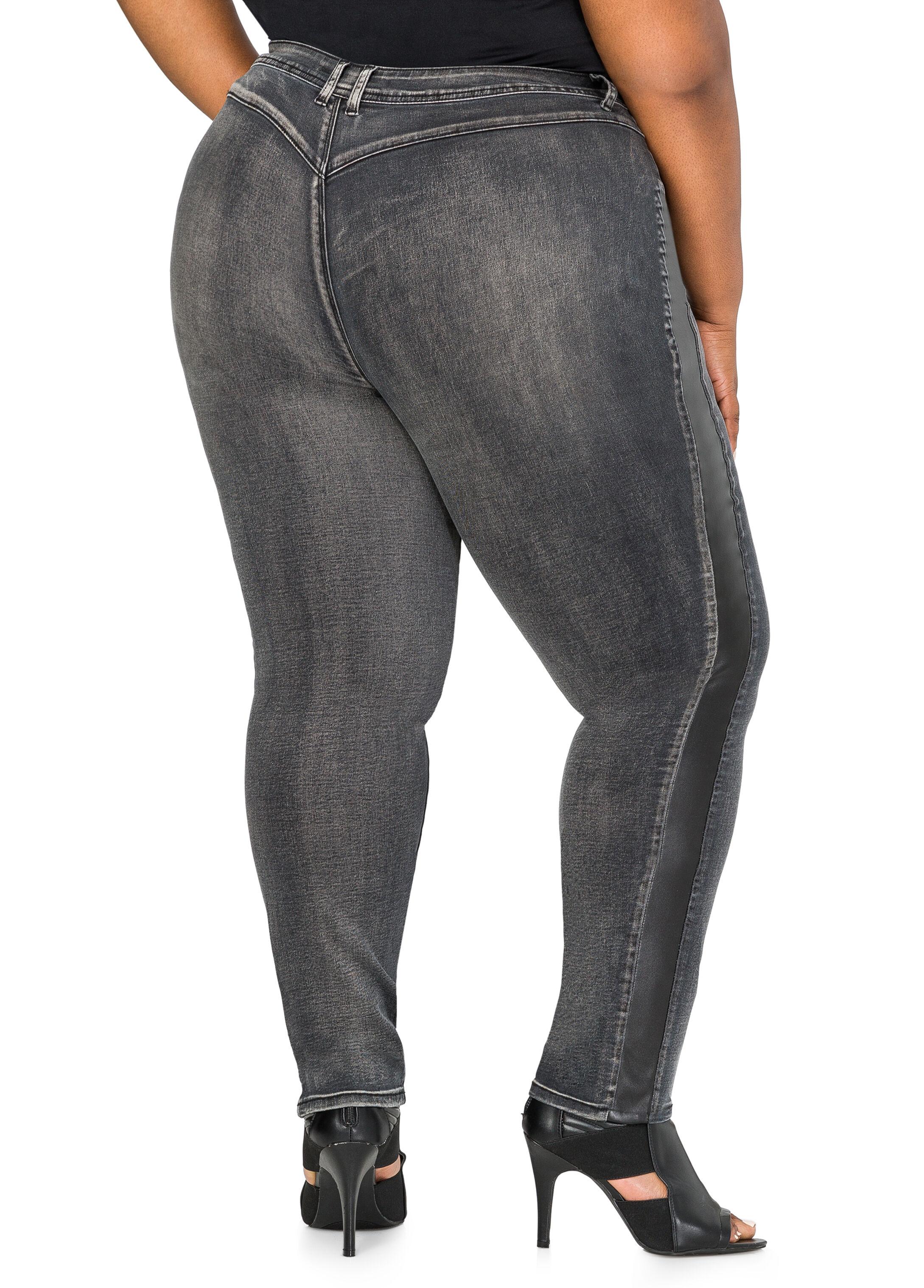 Faux Leather Trim Skinny Jean
