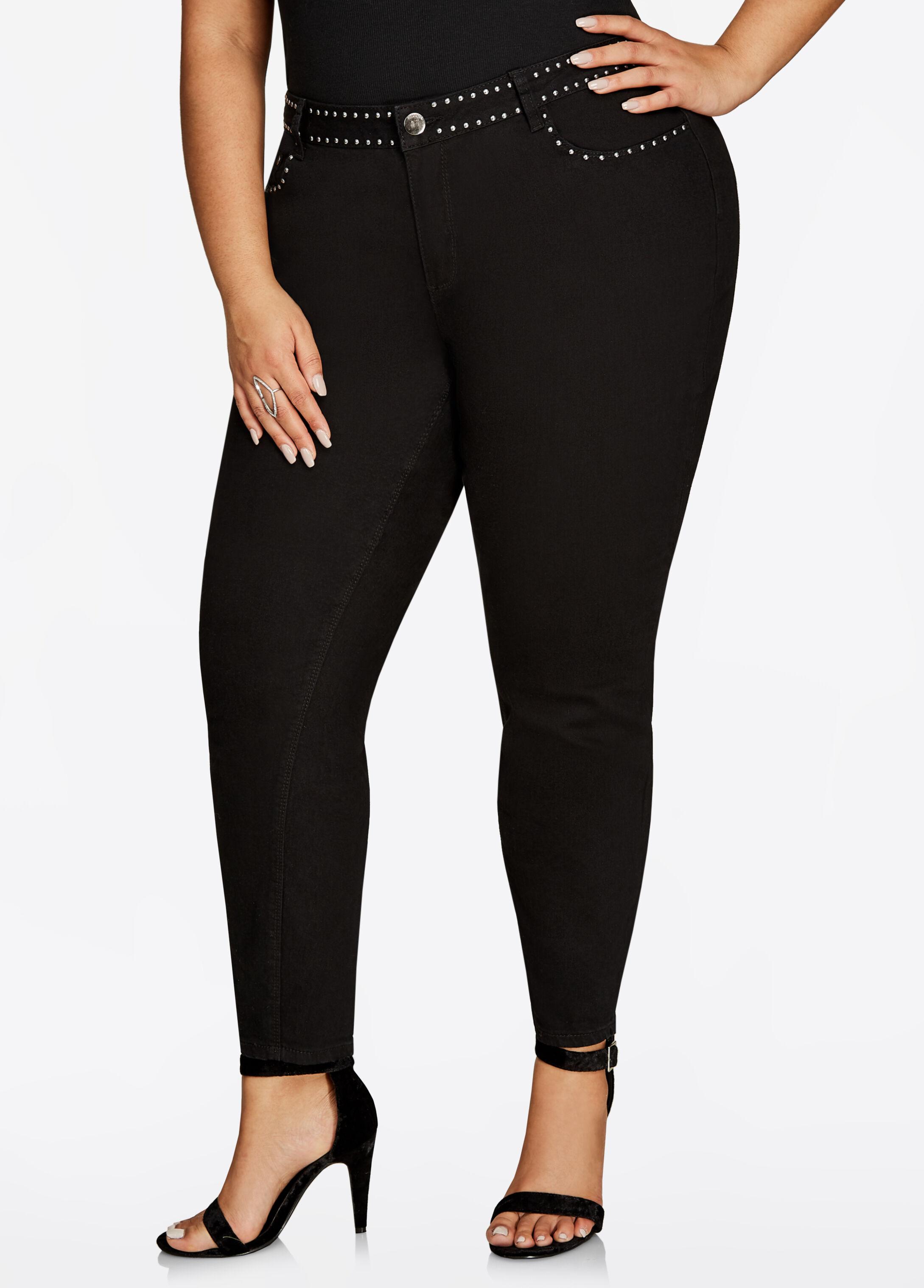 Studded Waist Skinny Jean