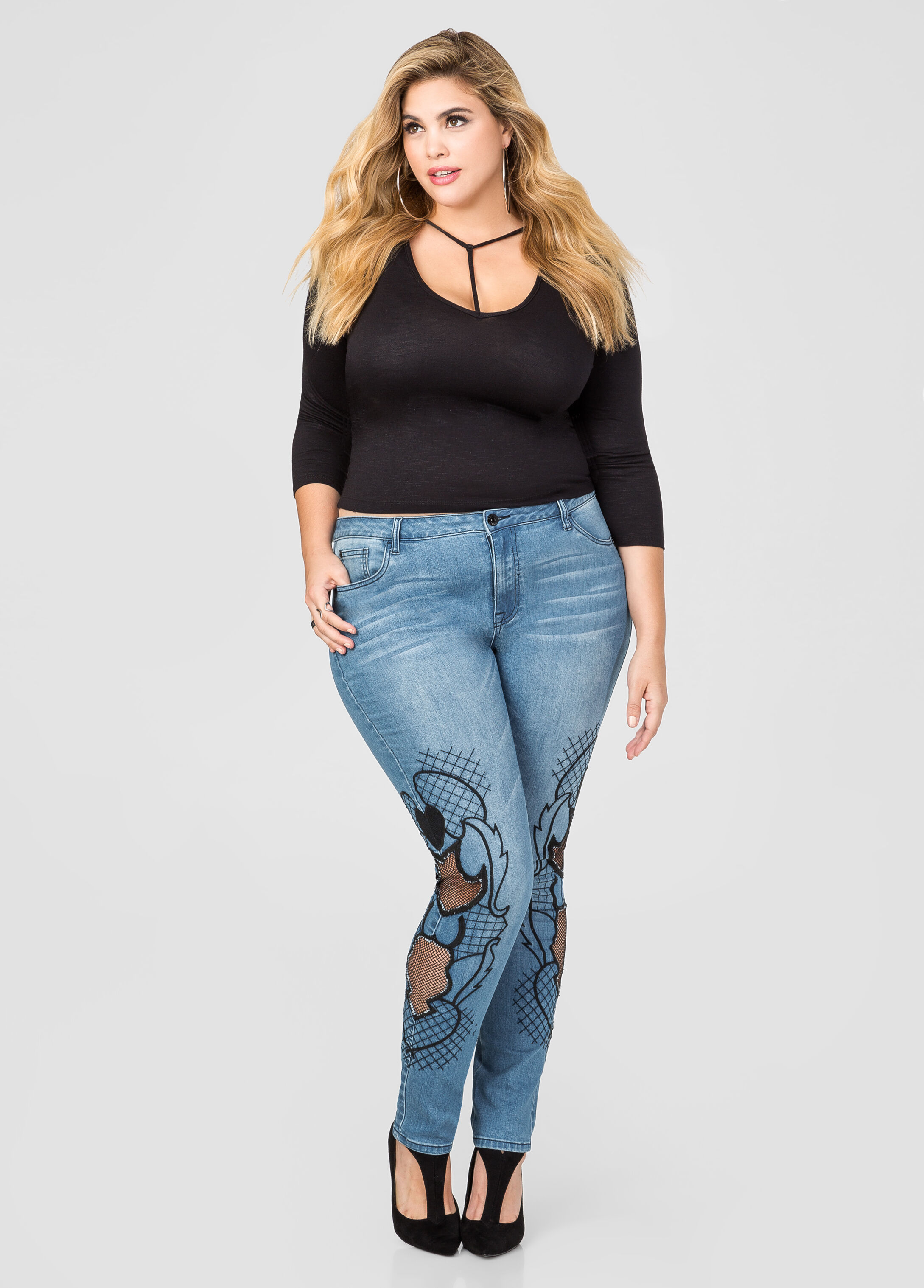 Embroidered Mesh Skinny Jean
