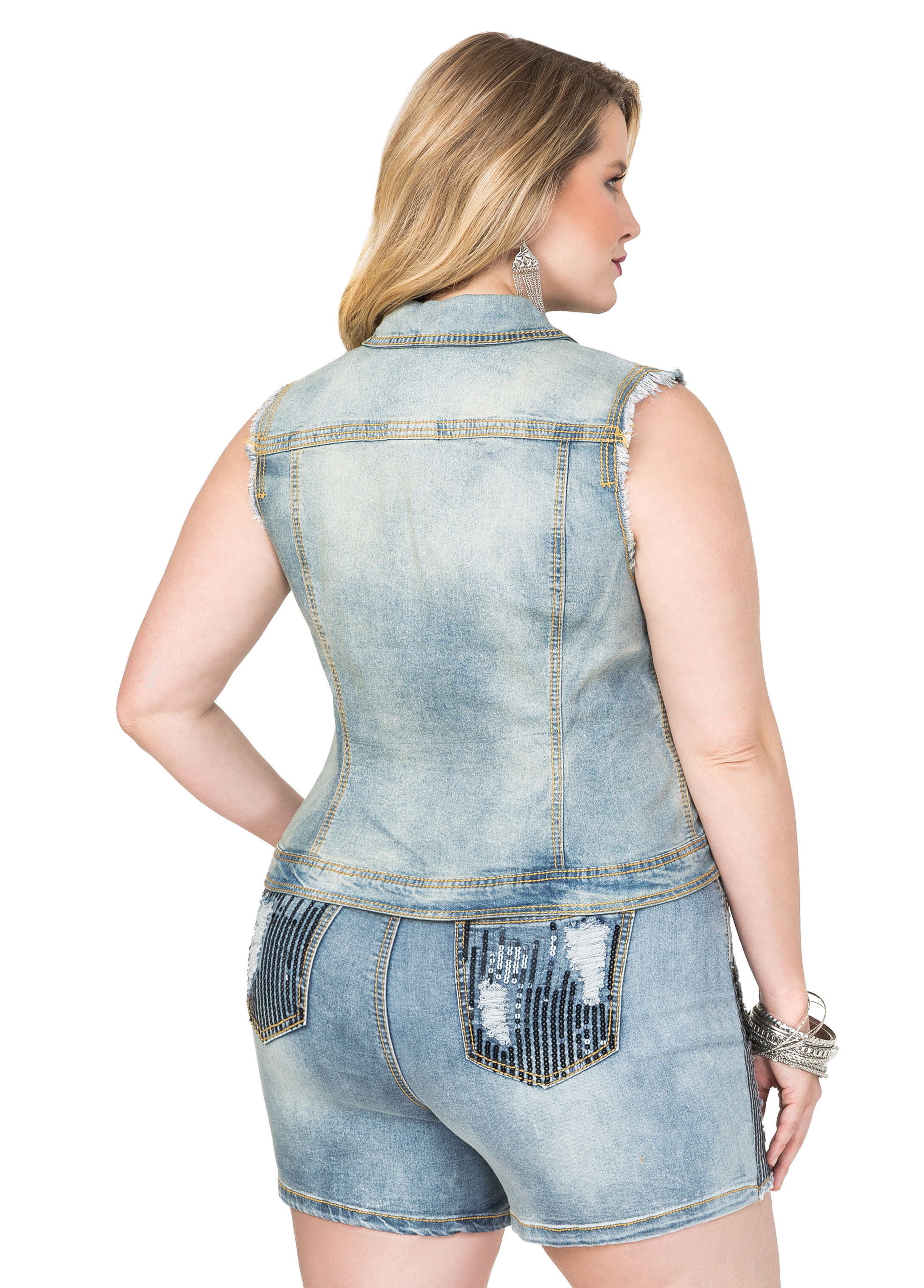 Destructed Sequin Jean Vest