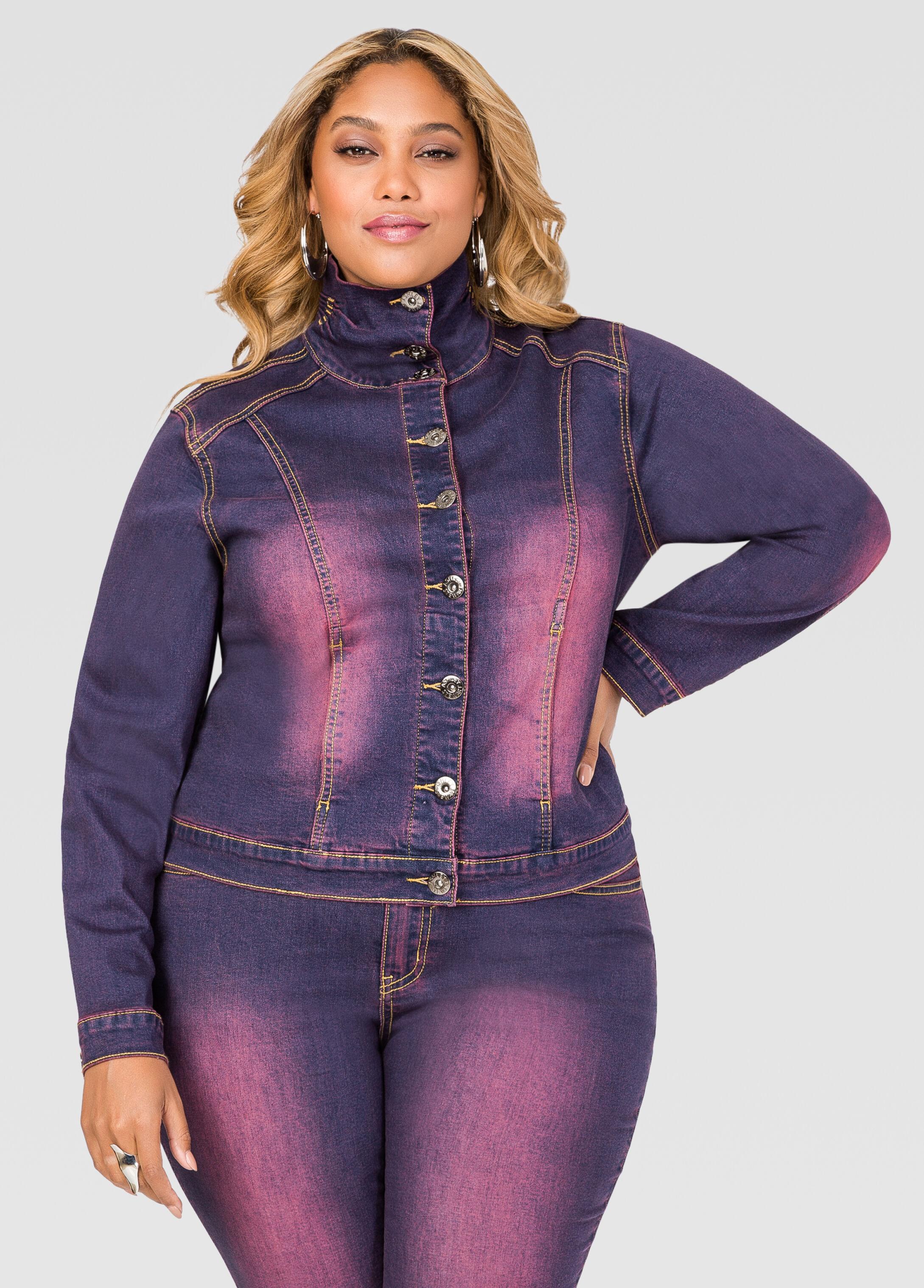 Stand Collar Purple Wash Jean Jacket