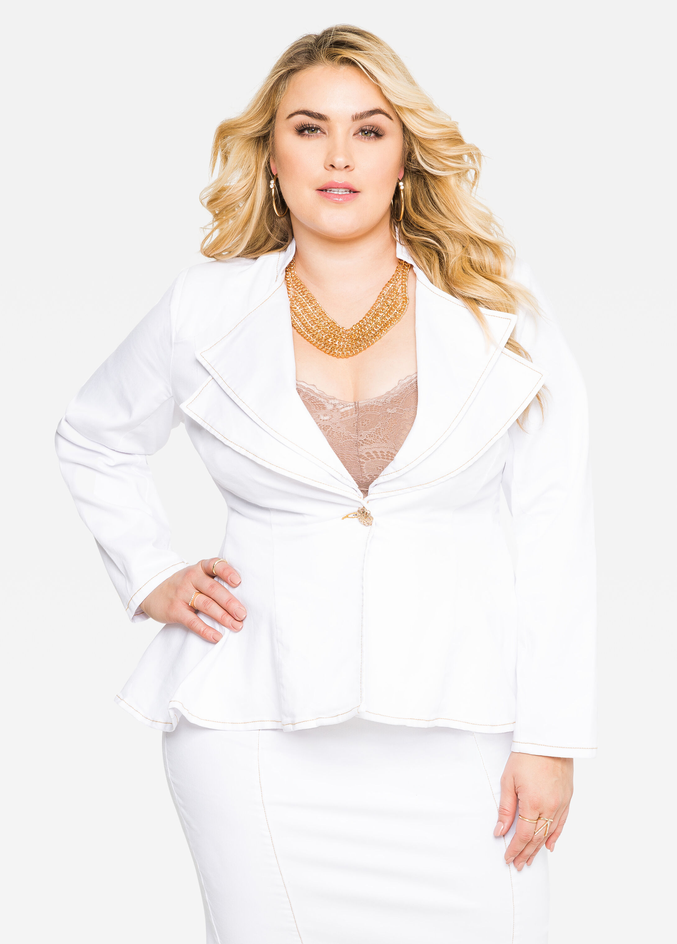 PEPLUM DBL COLLAR GOLD BTN JAC  - Color: White, Size: 12