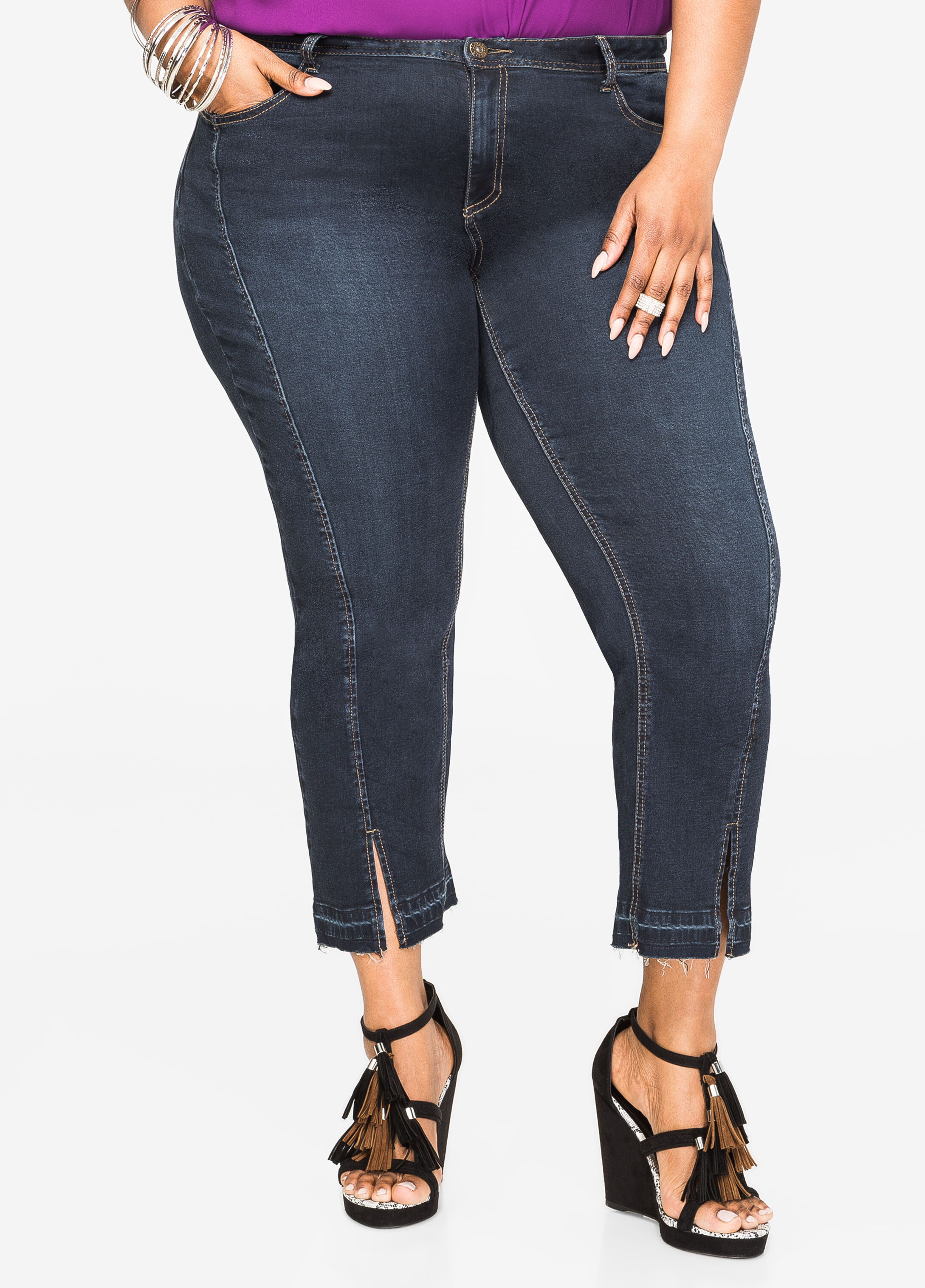 Flare Capri Jean with Front Slits