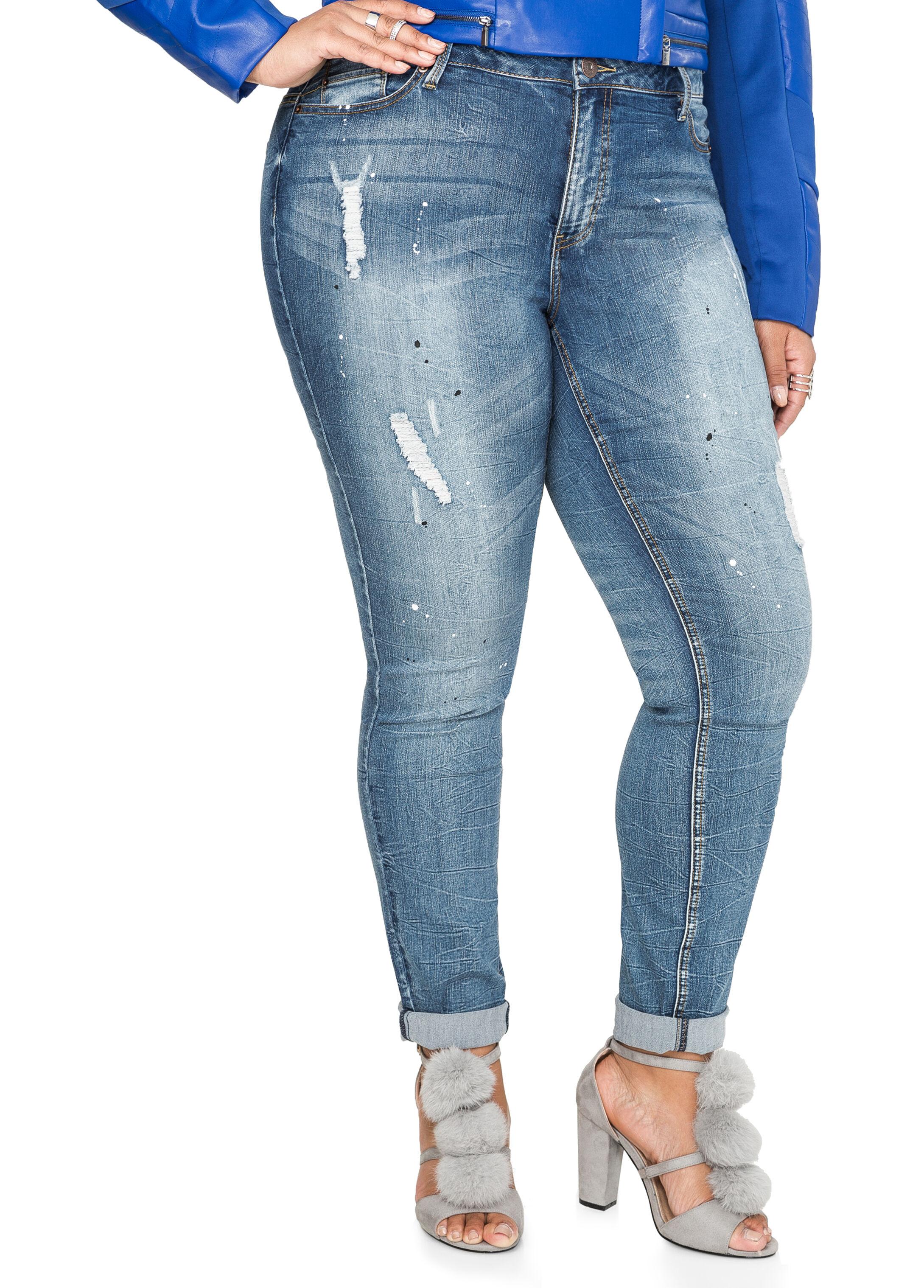 Crease Wash Destructed Skinny Jean
