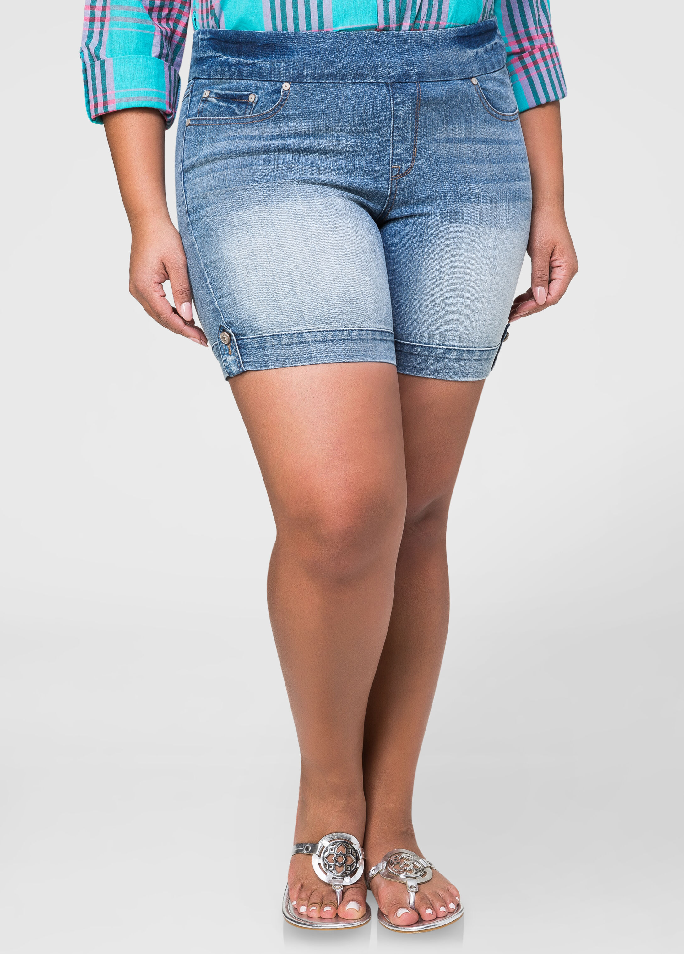 Pull-On Jean Shorts