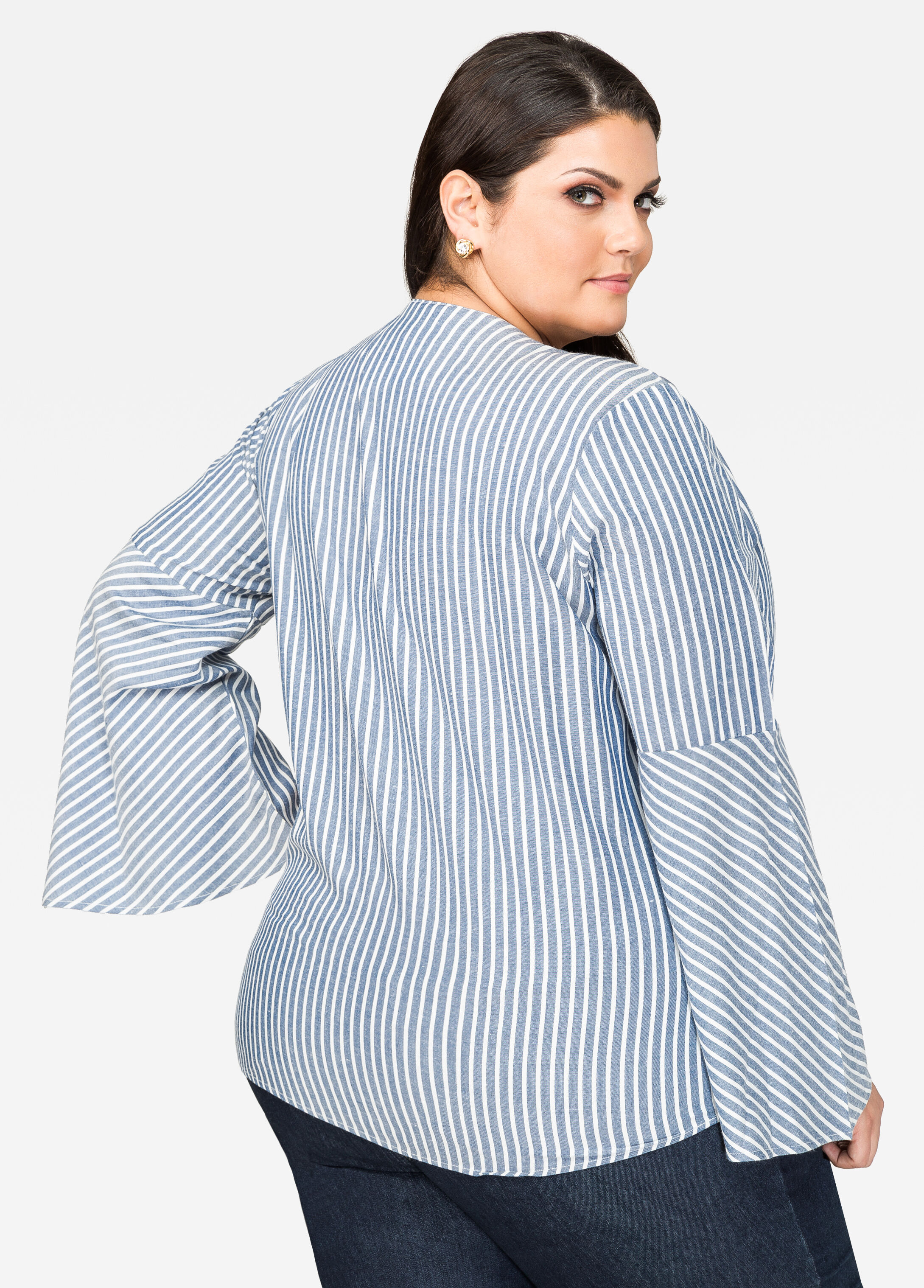 Striped Lace-Up Chambray Shirt