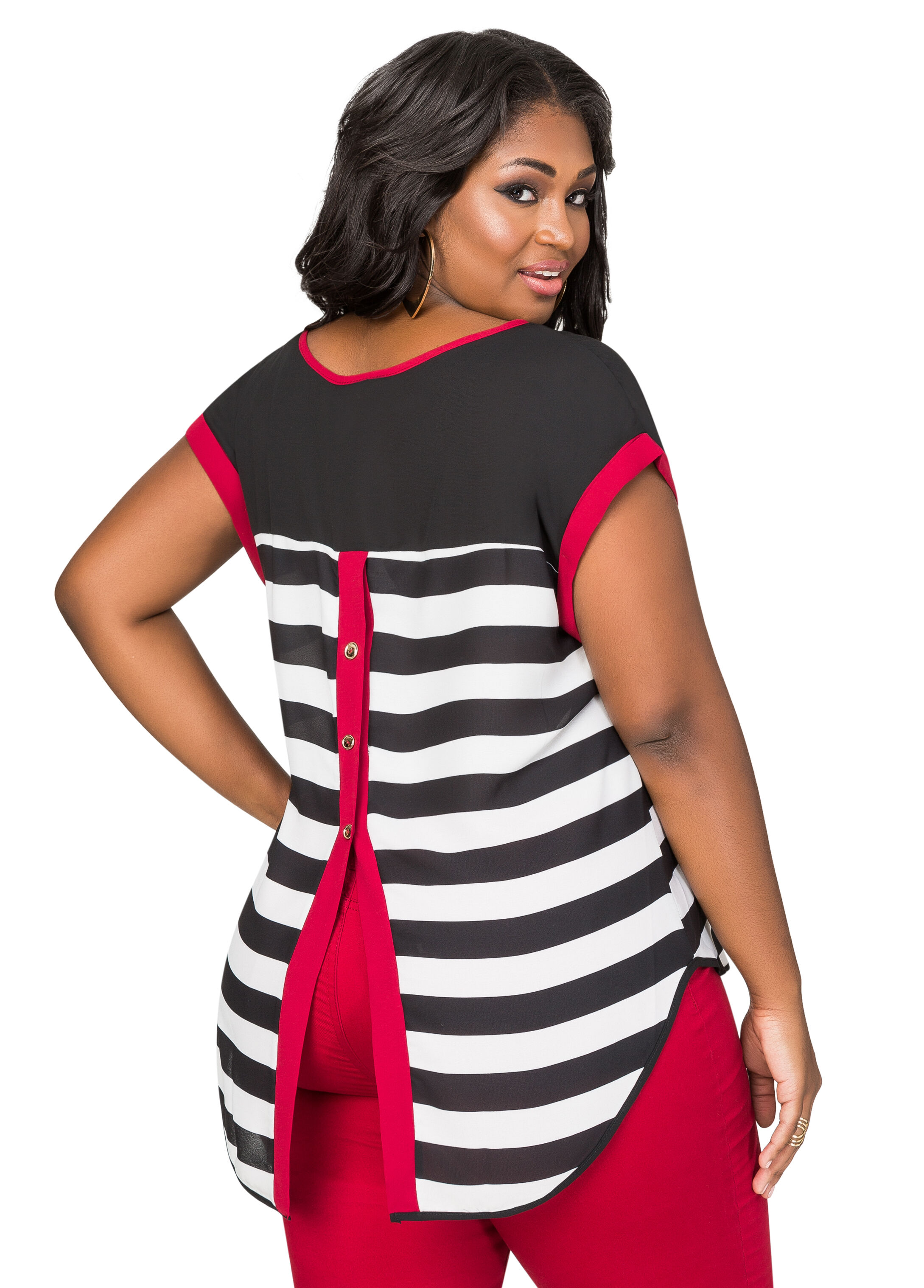 Striped Button Back Tee