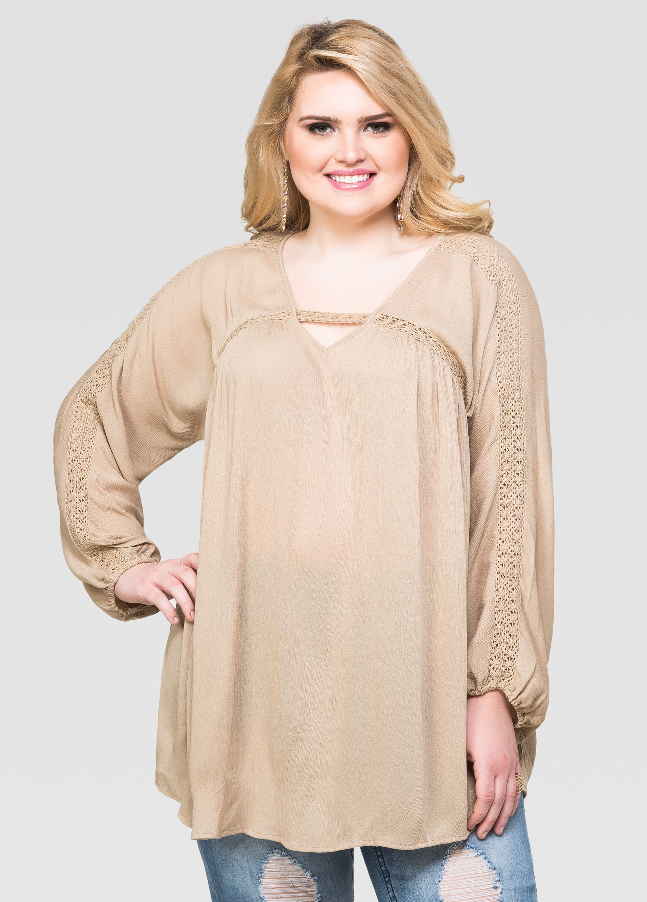 Gauze Crochet V-Neck Tunic