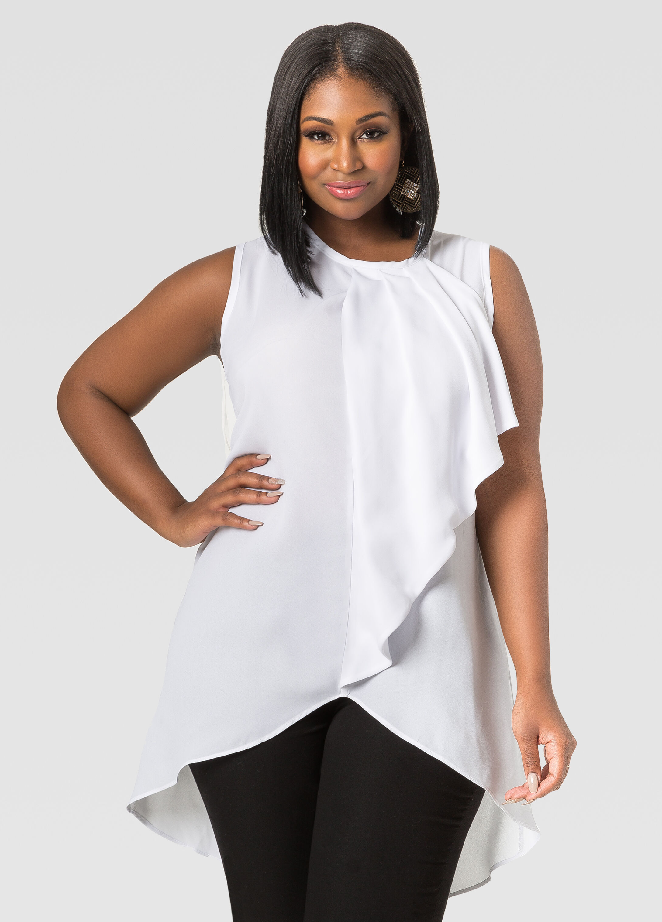 Plus Size White Ruffle Blouse