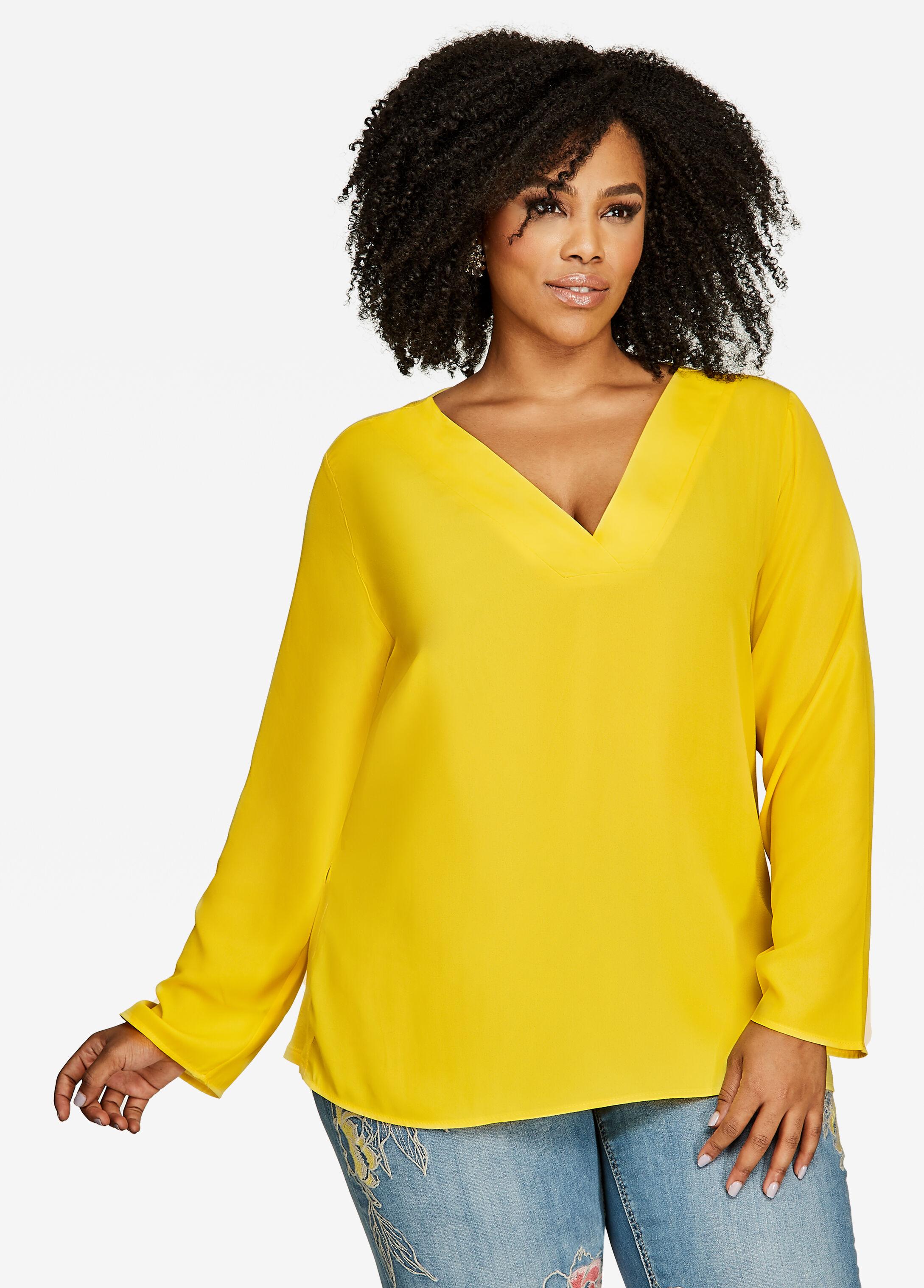 V Neck Knit Back Pullover Top
