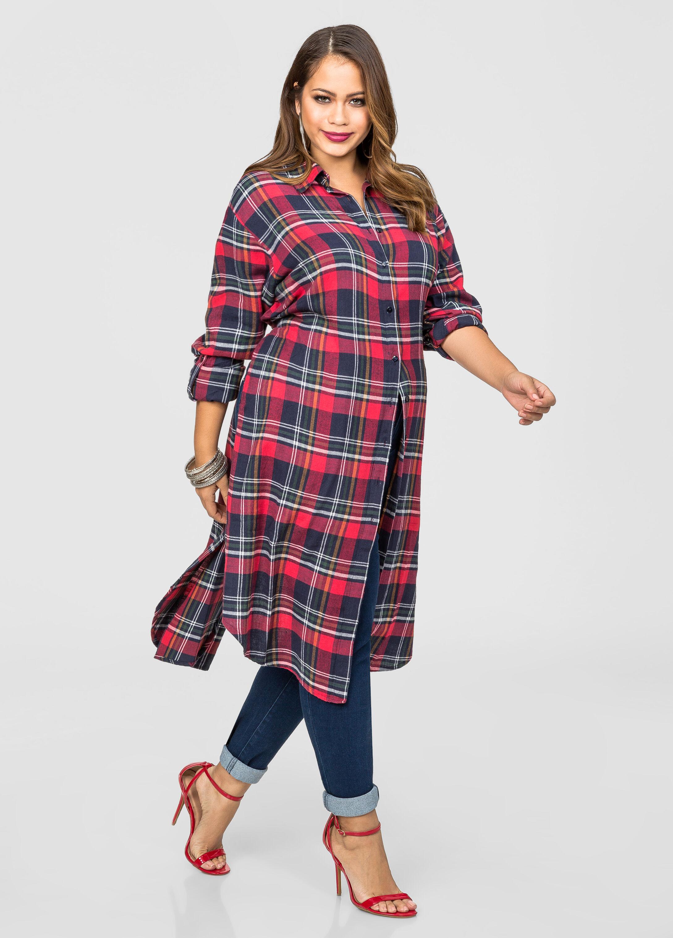 Plaid flannel duster plus size denim shirts ashley stewart for Plus size plaid flannel shirt