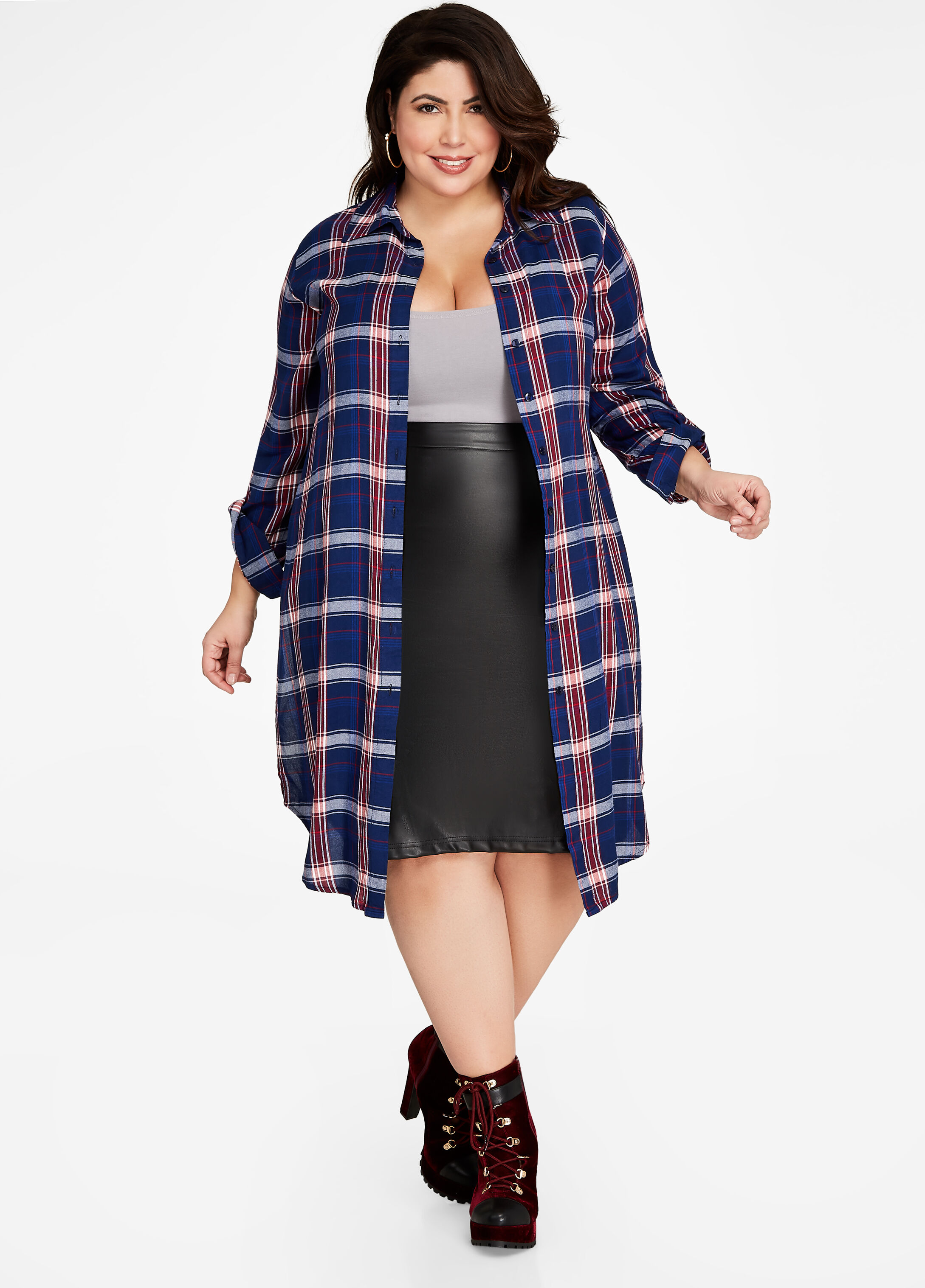 Collared Button-Up Plaid Duster