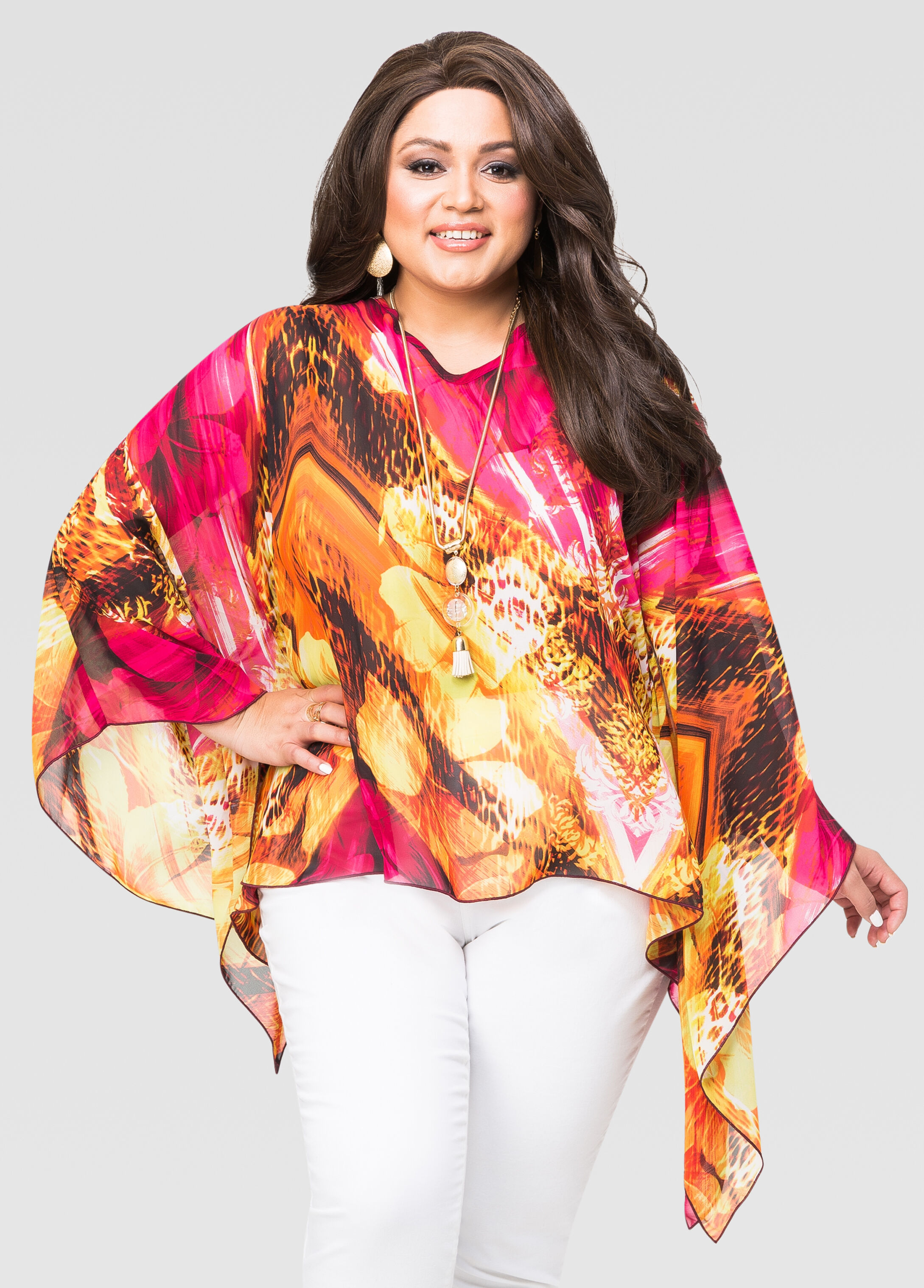 Tropical Floral Poncho Top