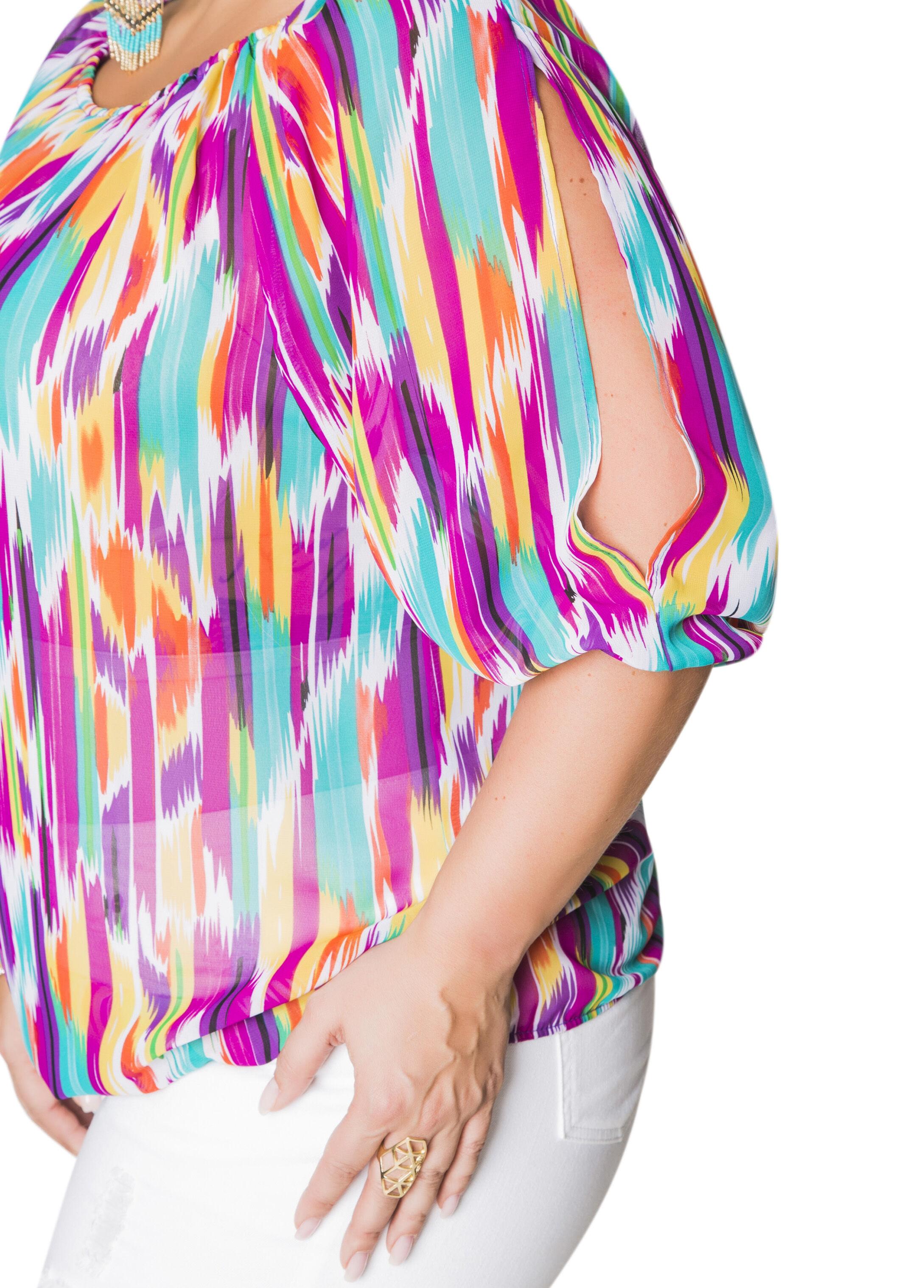 Sheer Printed Slit Sleeve Peasant Top