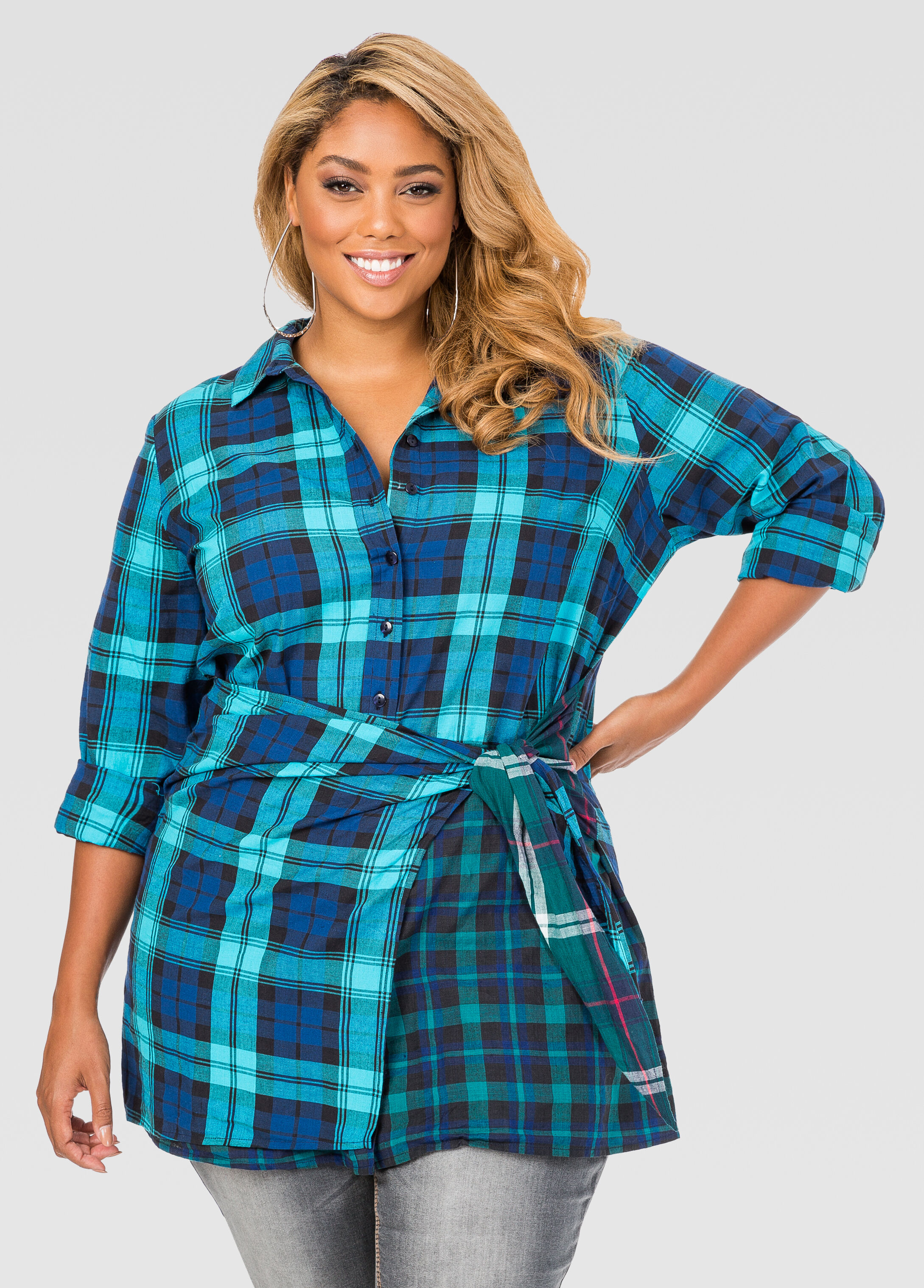Mixed Plaid Button Front Tunic