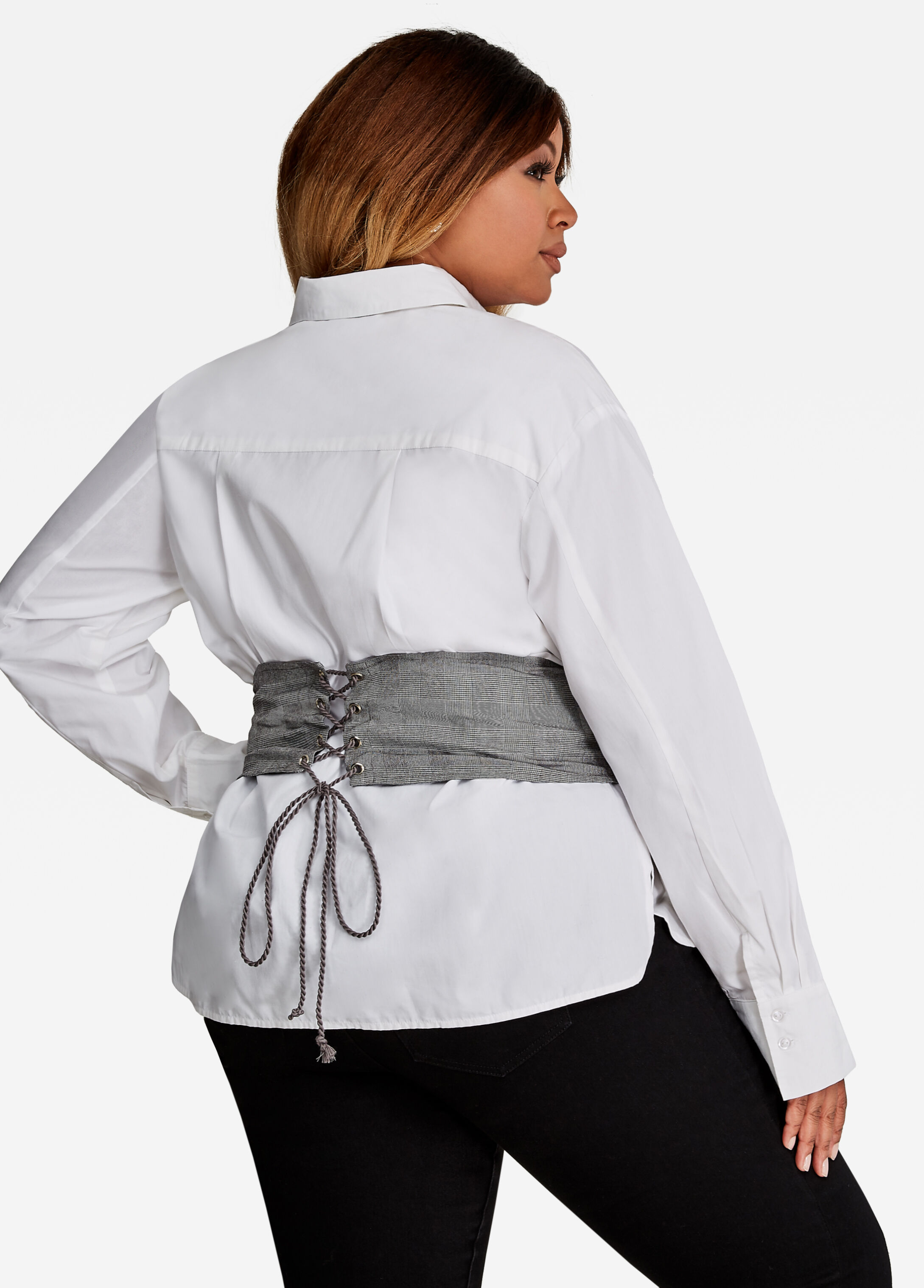 Button Up Dress Shirt With Corset