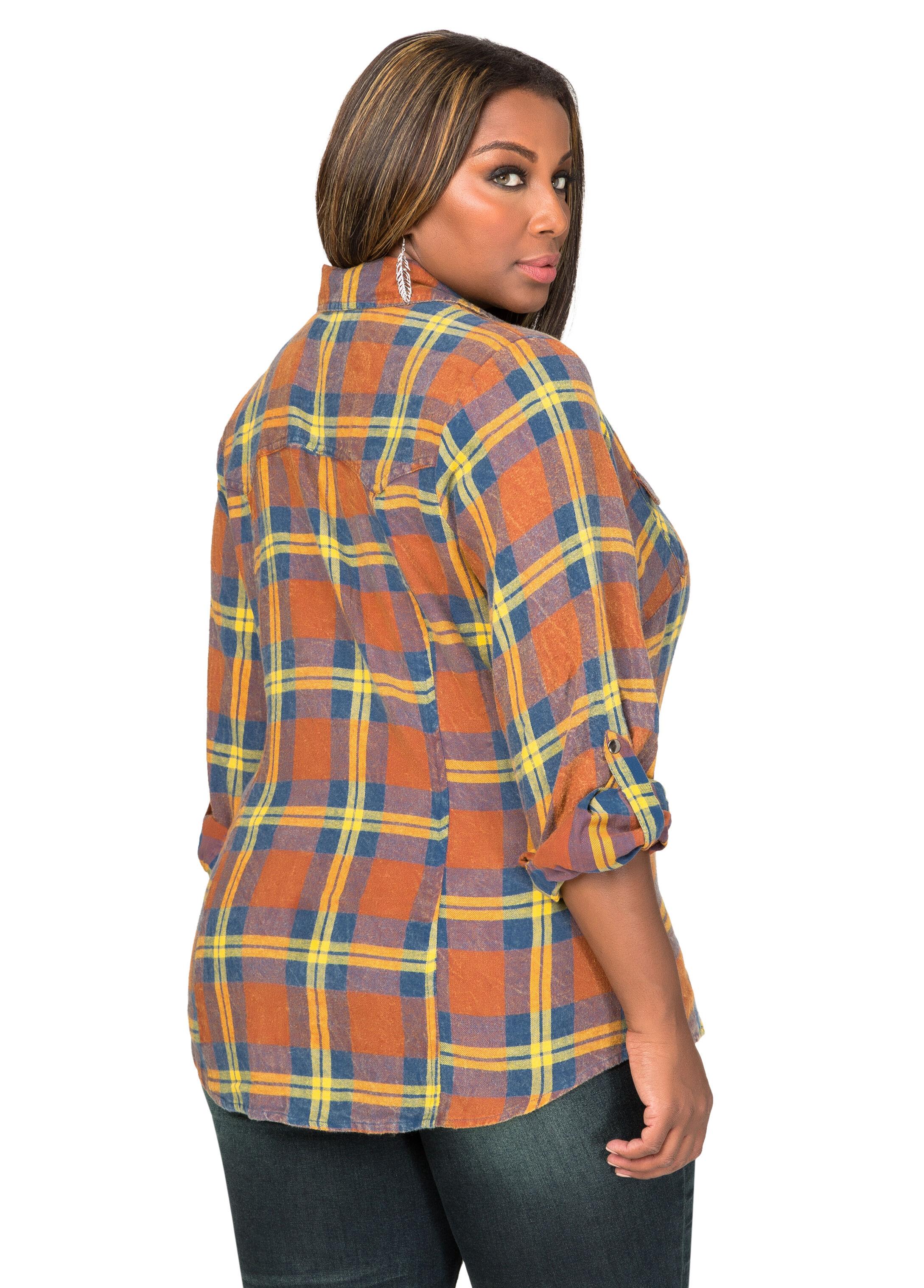 Snap Button Plaid Shirt