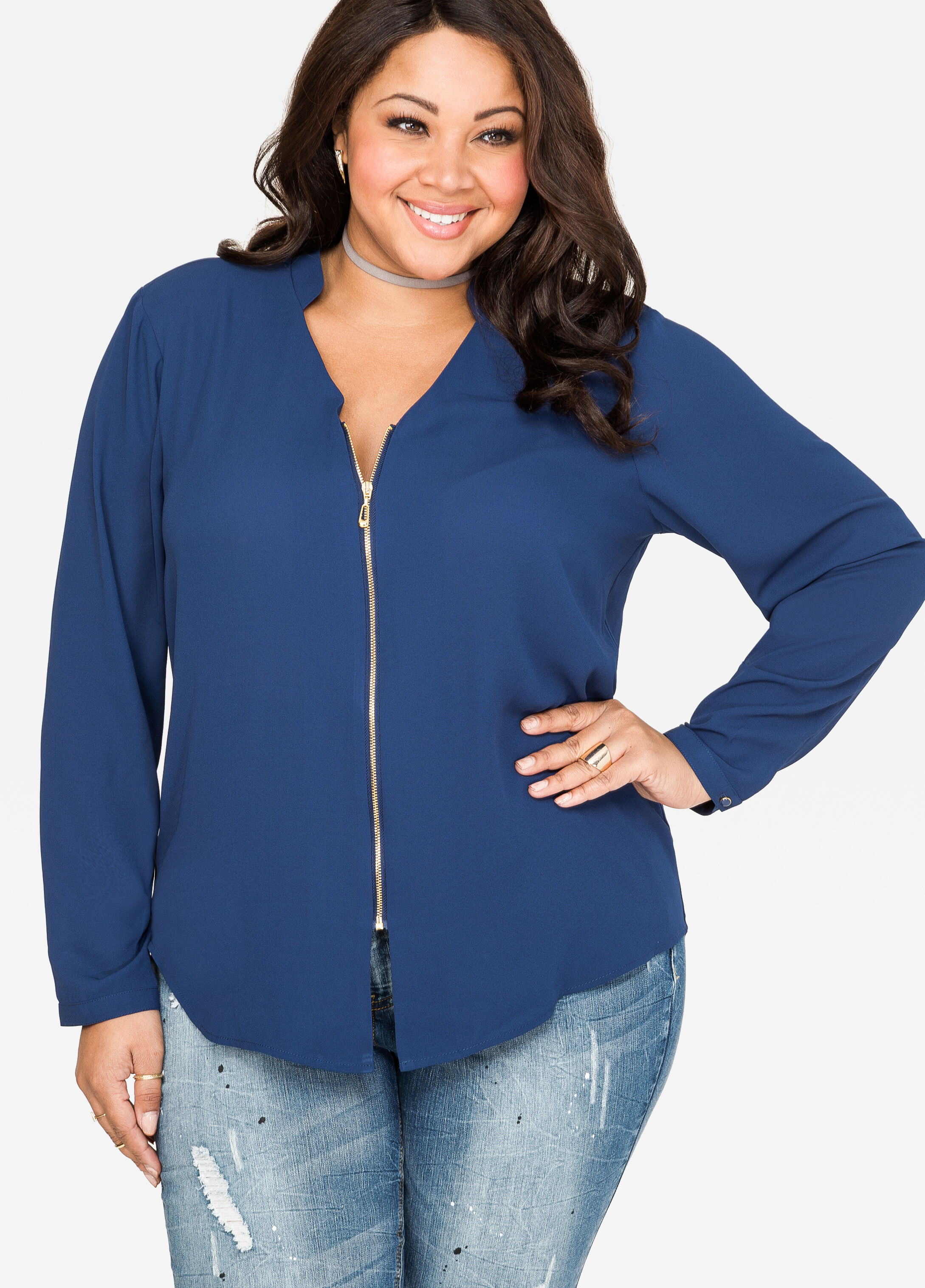 Center Zip Crepe Blouse