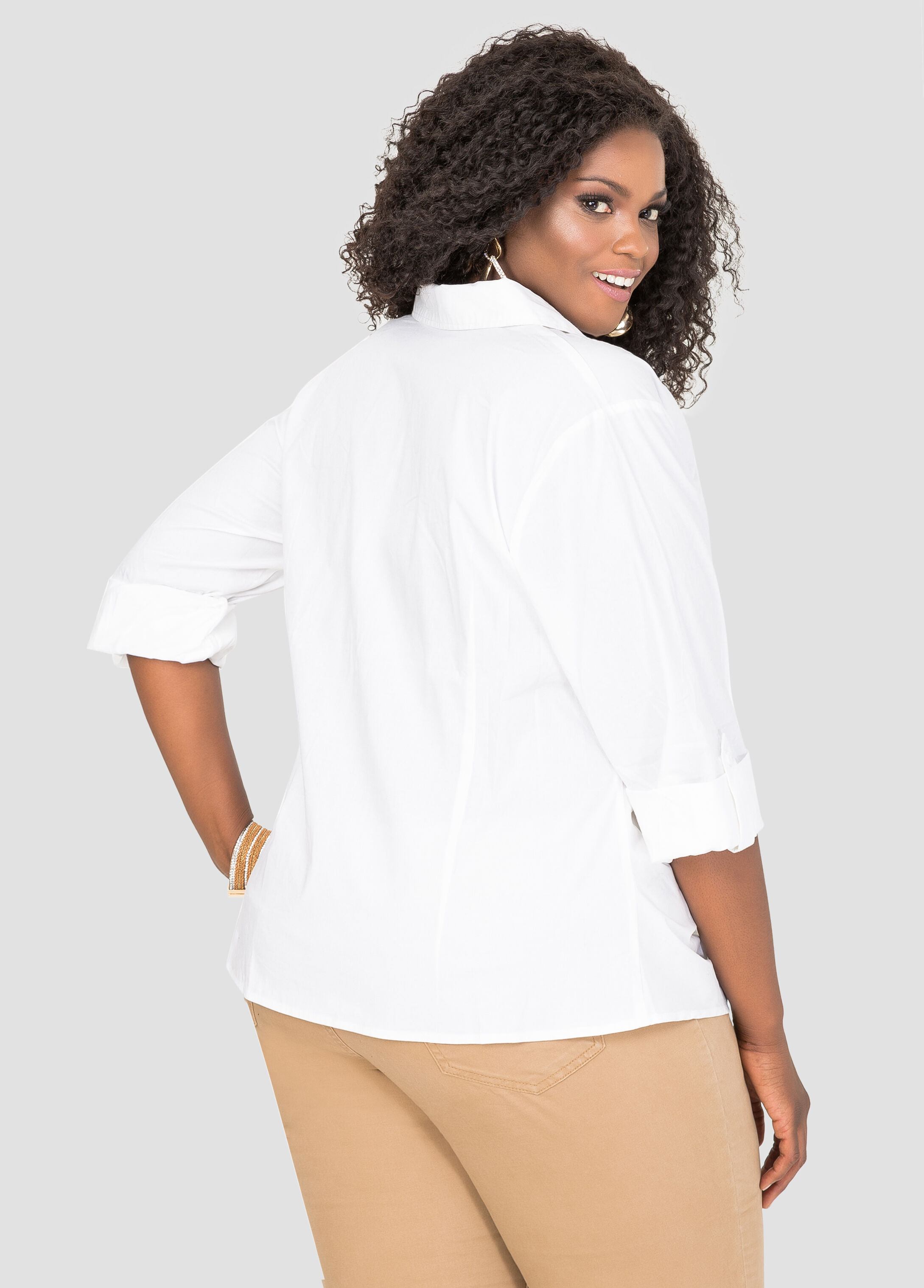 Ruched Zip Front Shirt