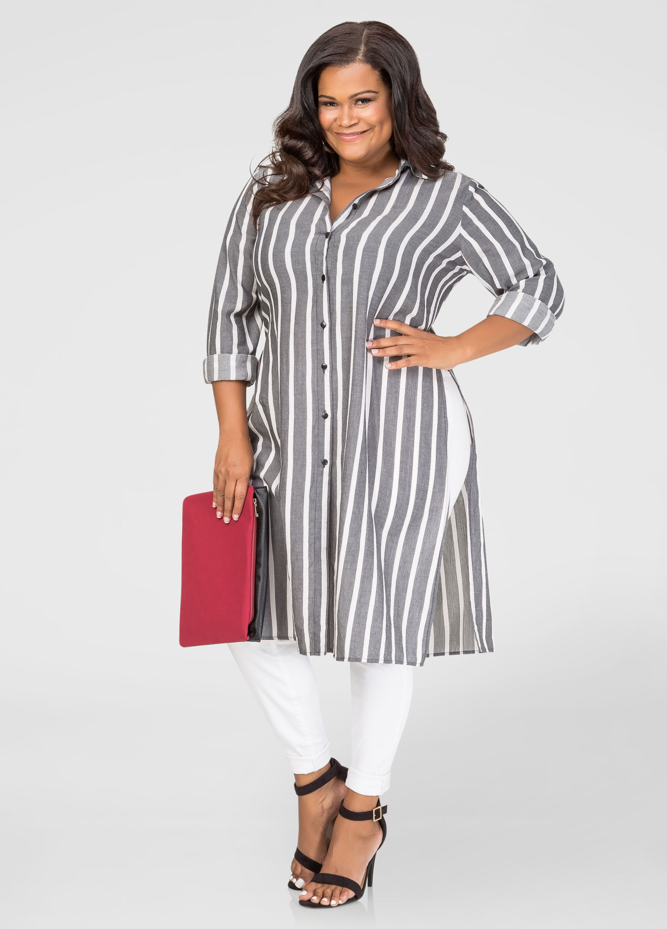 Button Front Striped Duster