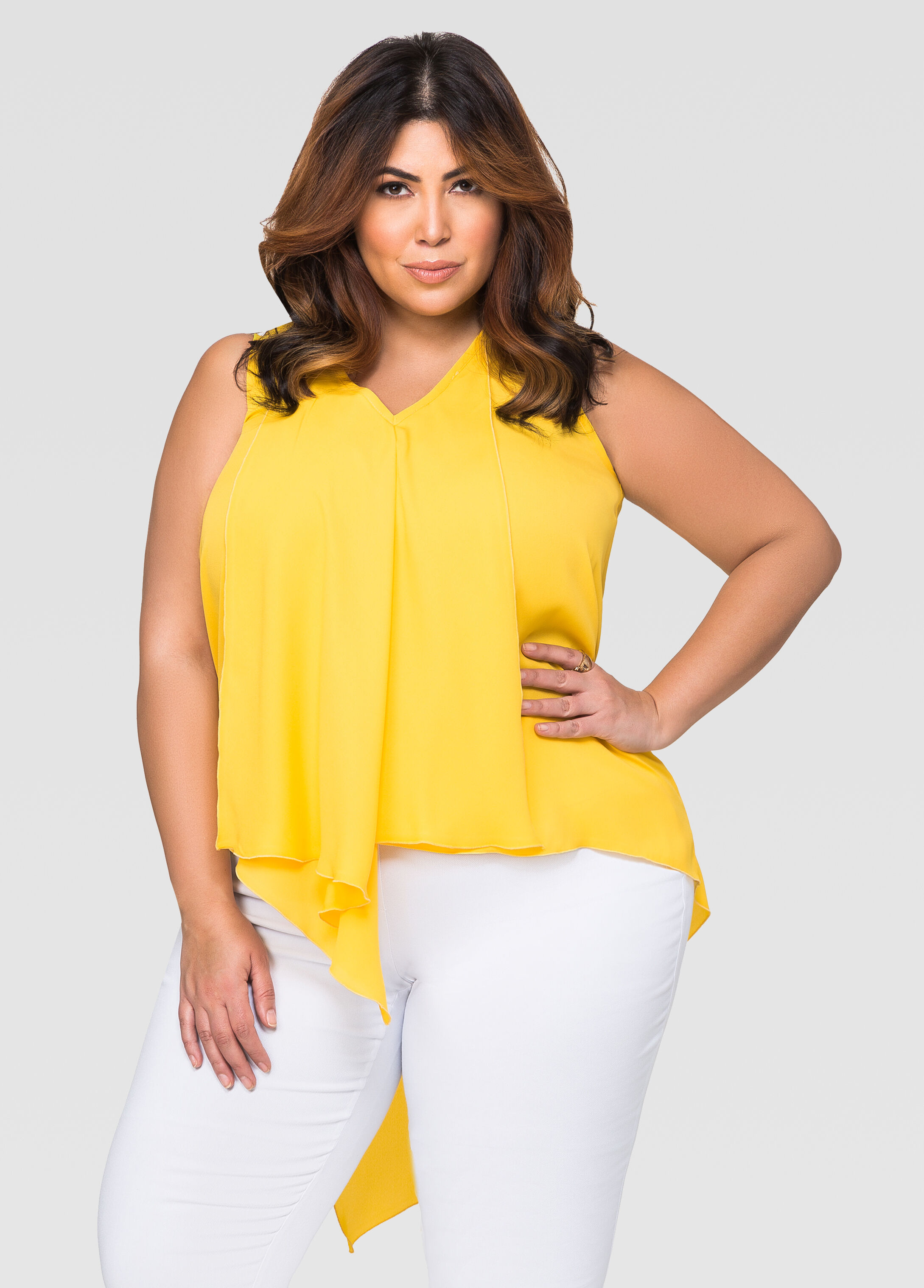 Sleeveless Hi-Lo Ruffle Blouse