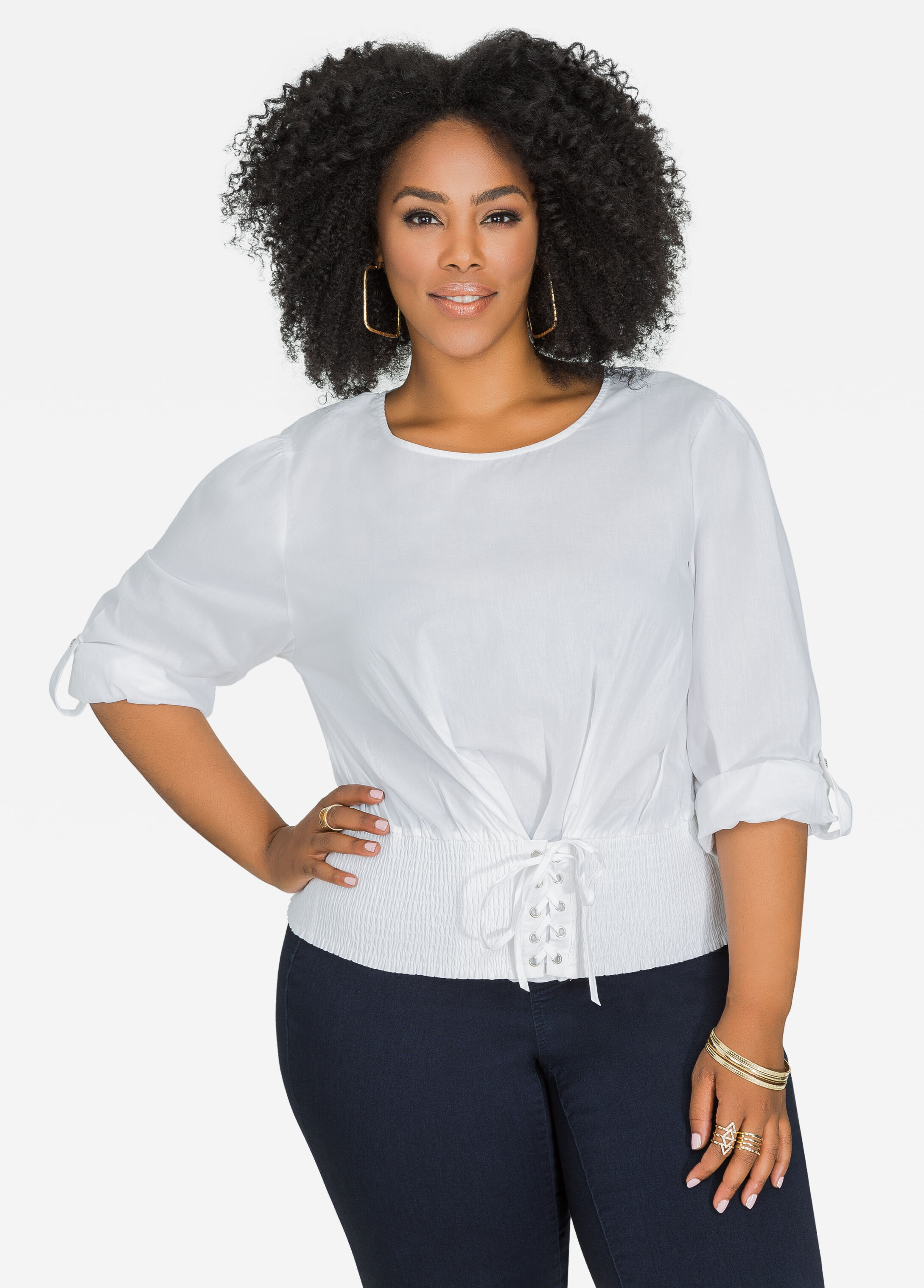 Smocked Waist Lace-Up Top