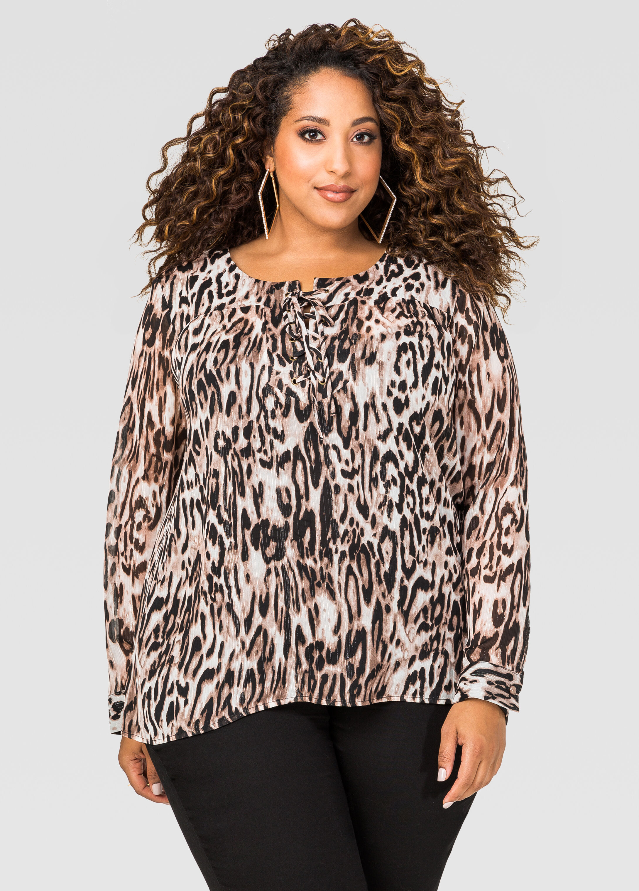 Sheer Printed Lace-Up Blouse