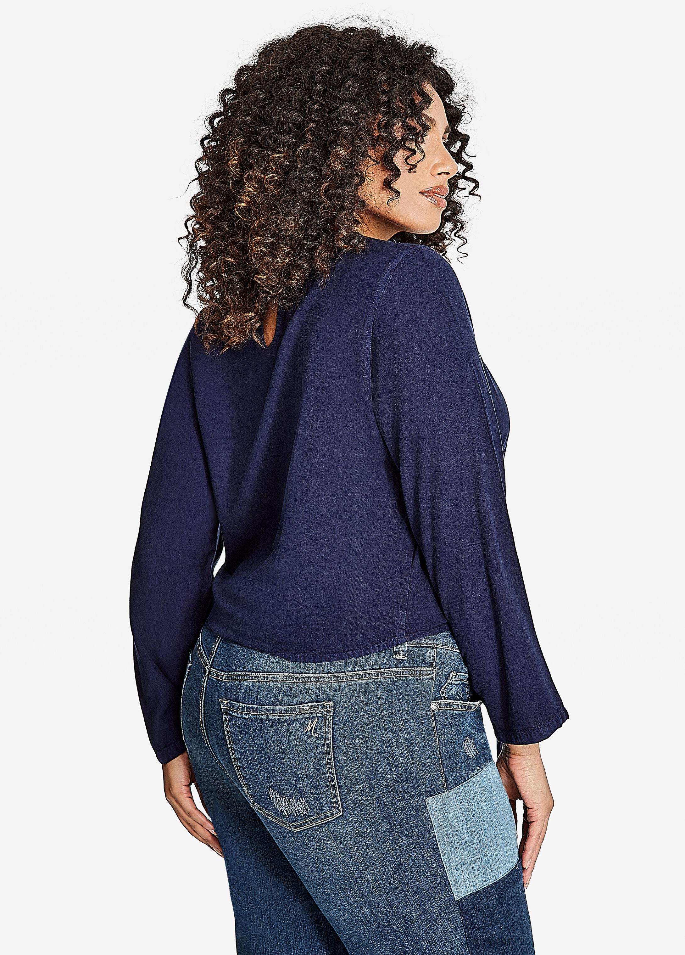 Plus Size Tie Front Denim Shirt