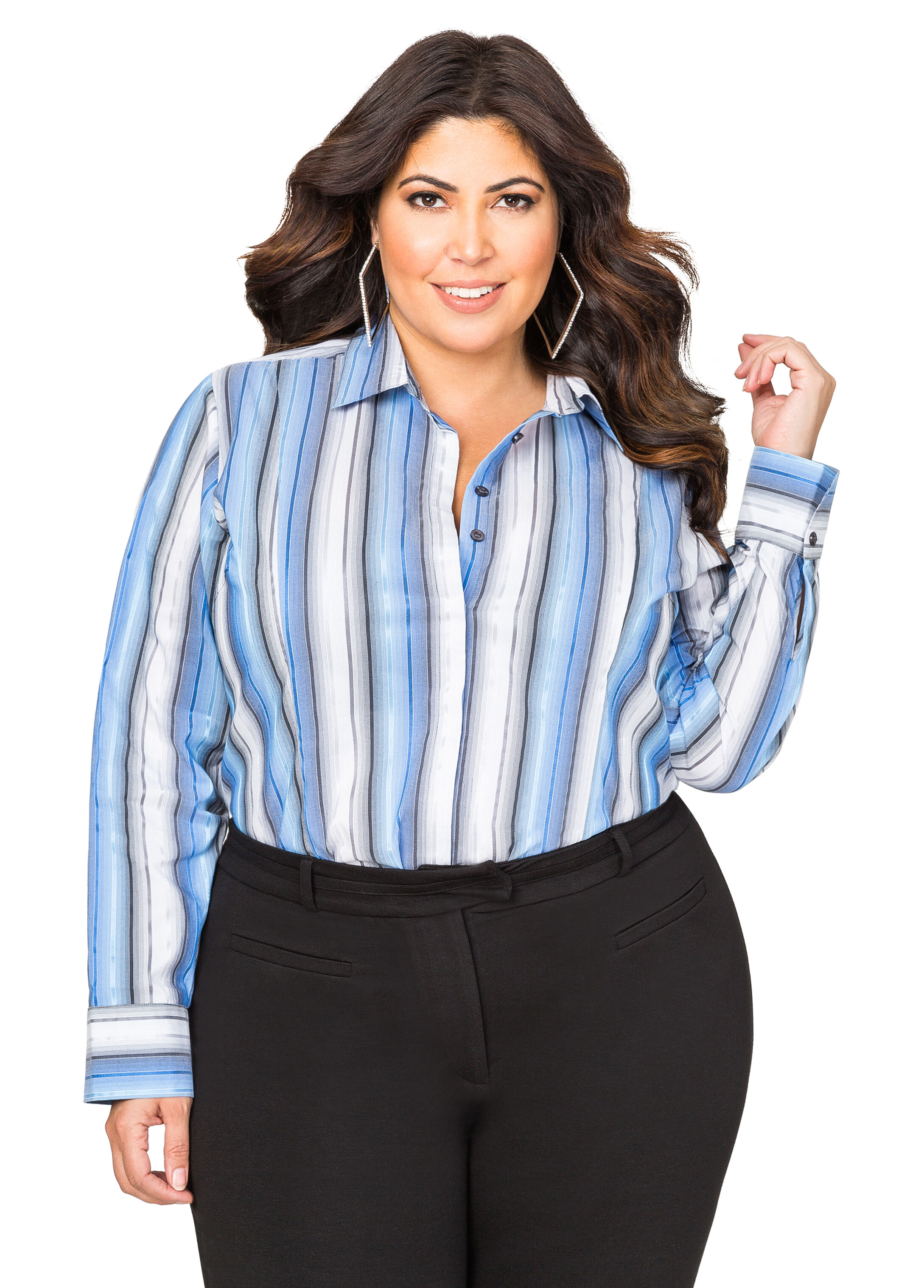 Ombre Stripe Button Front Shirt
