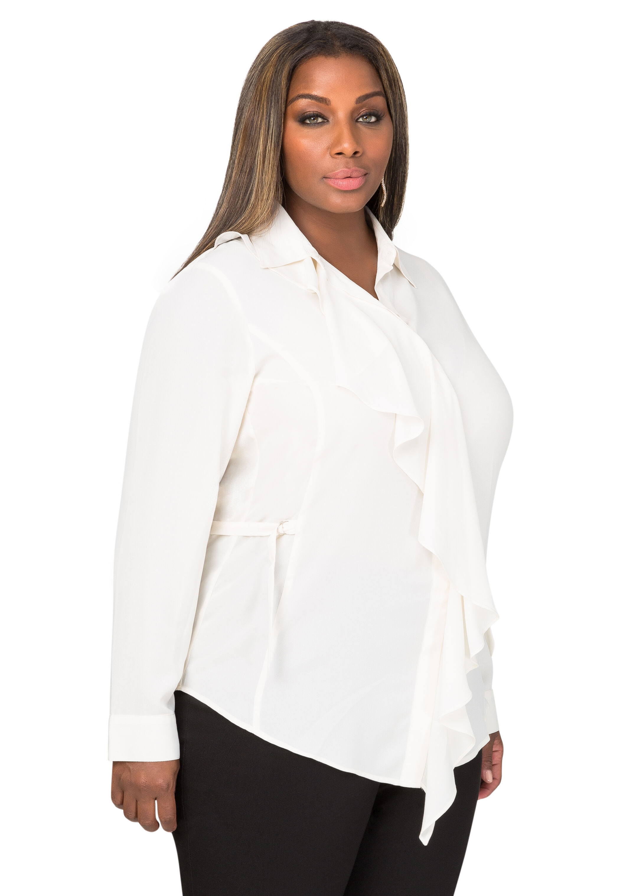 Ruffle Front Buckle Tab Blouse