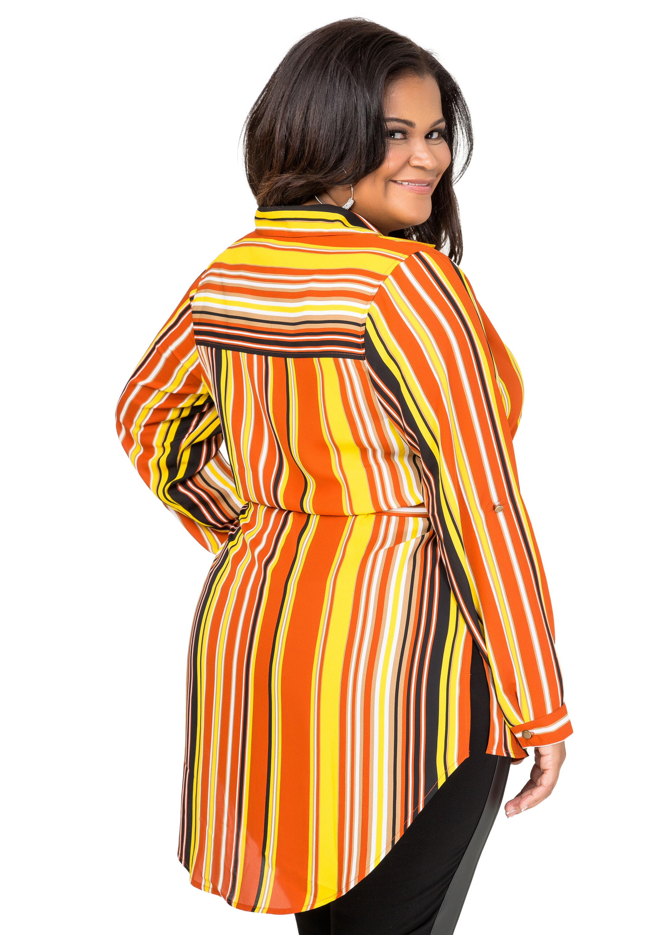 Belted Striped Hi-Lo Tunic