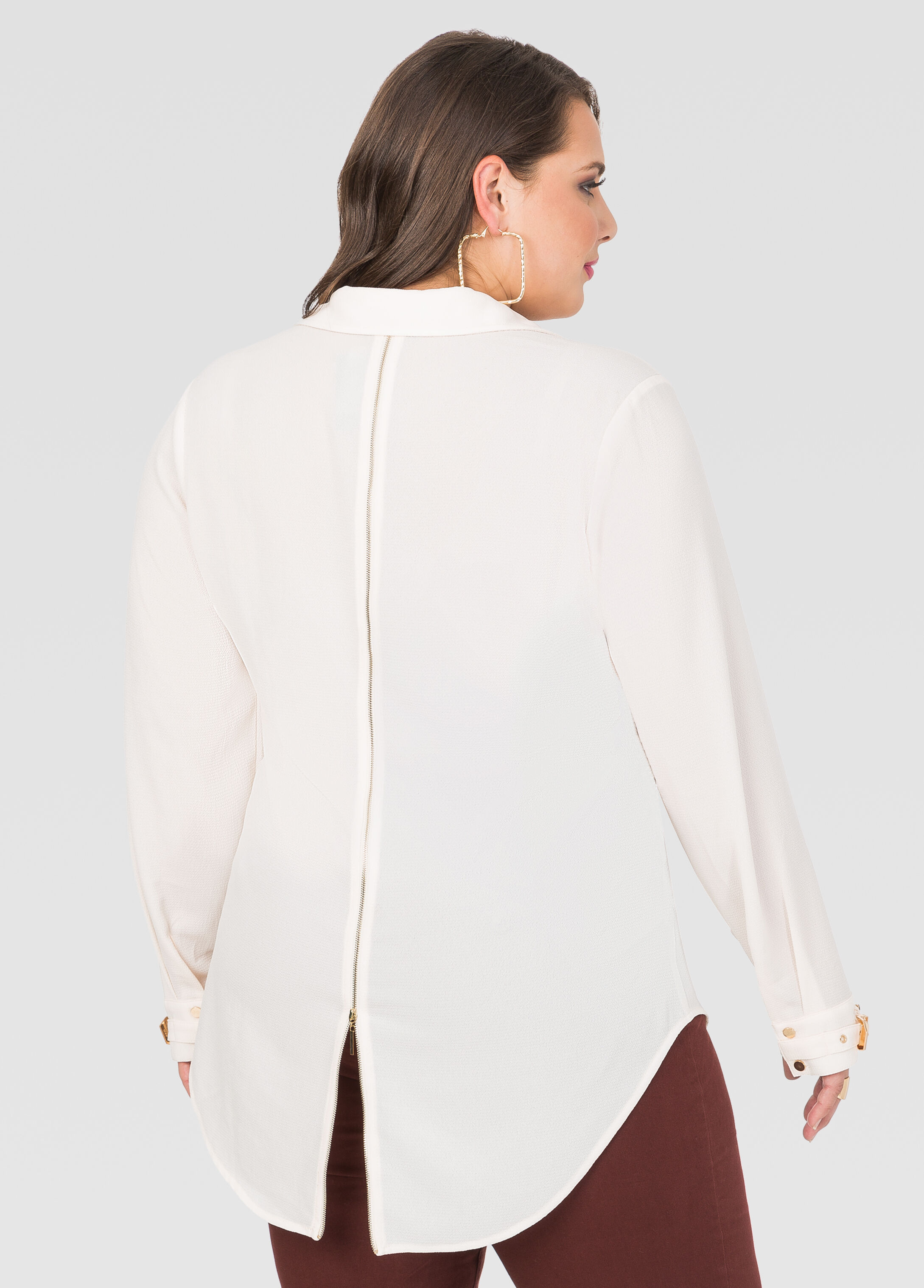 Metal Hardware Zip Back Blouse