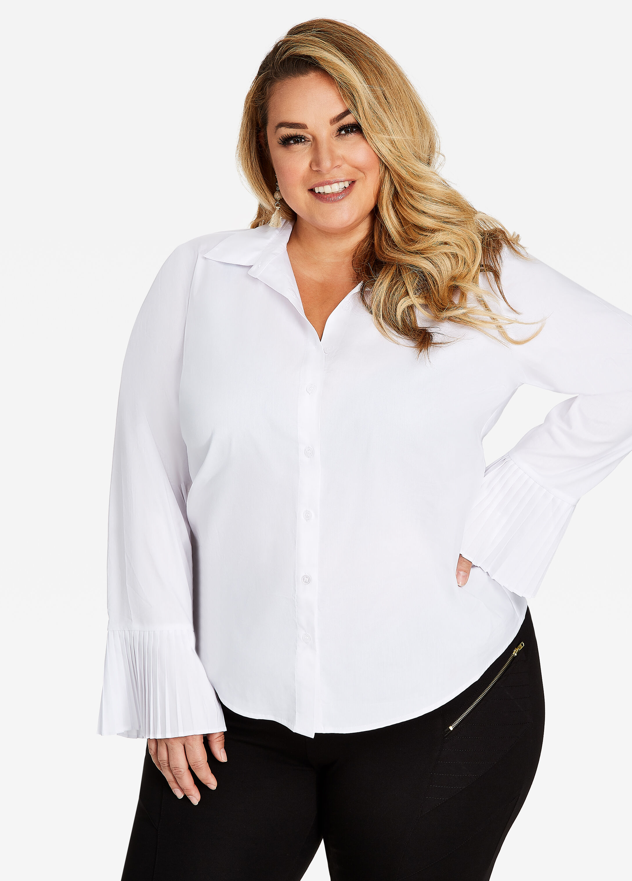 Button Front Pleat Cuff Shirt