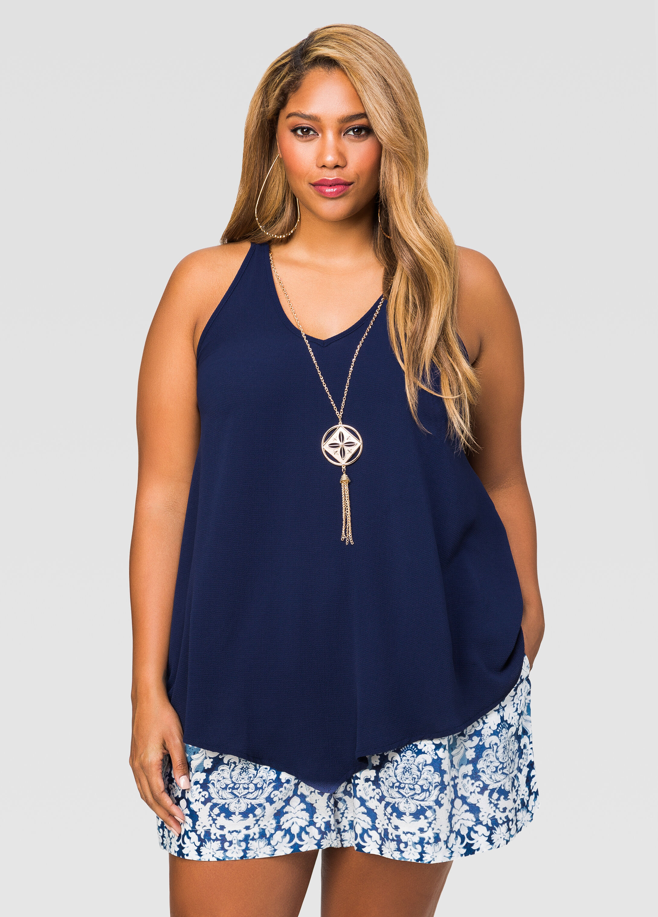 Textured Crepe Necklace Tank