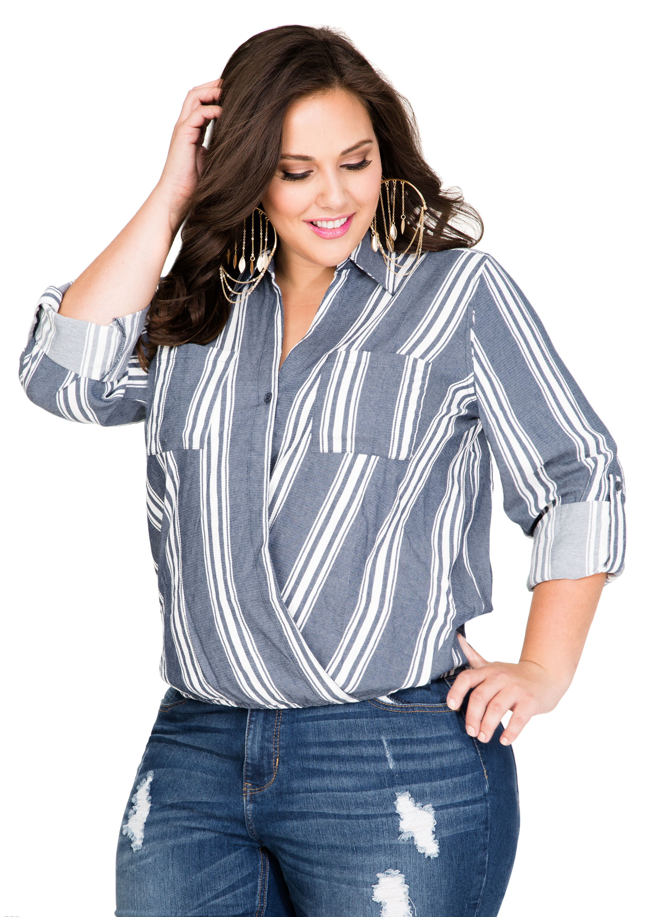 Striped Crossover Denim Shirt