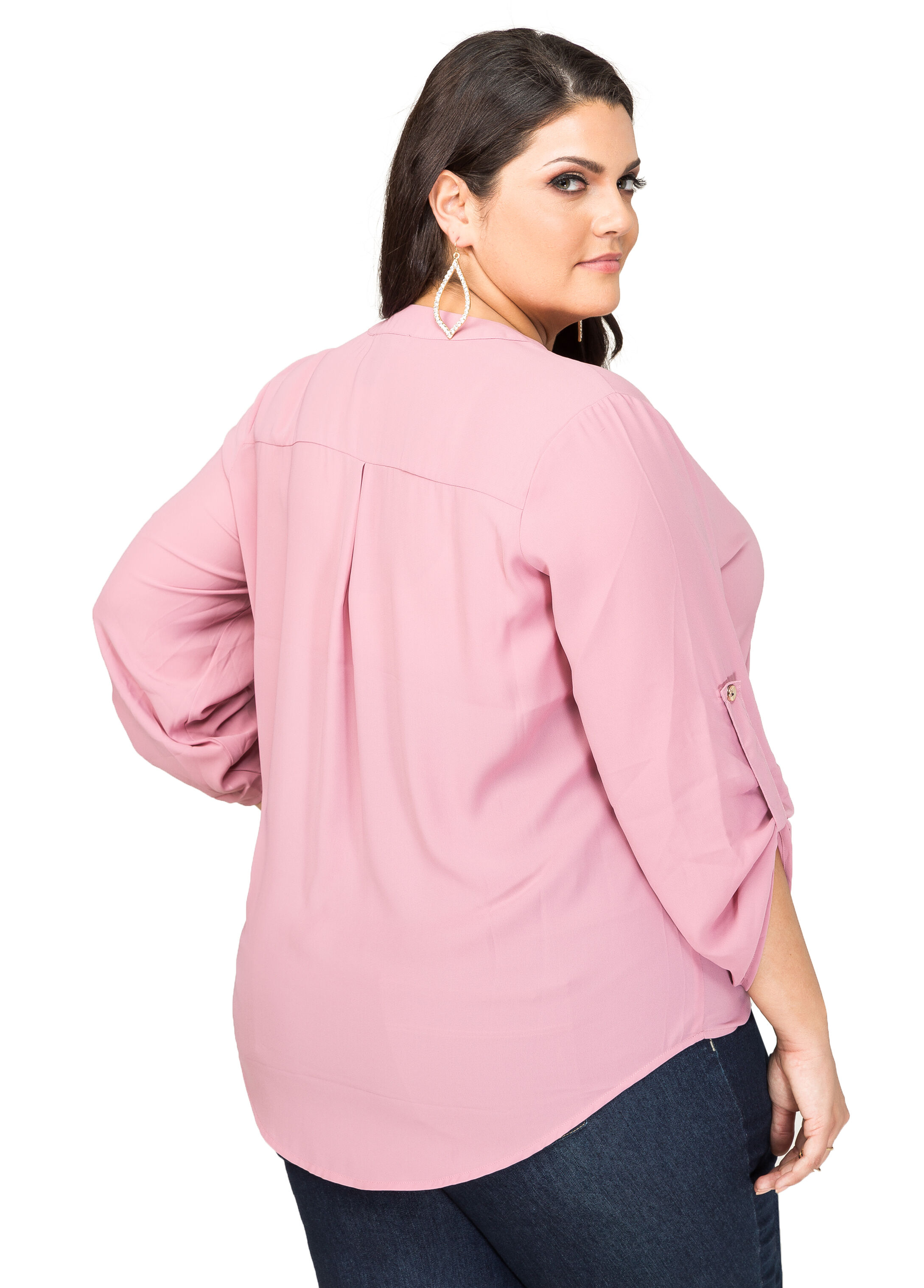 Rolled Sleeve Georgette Blouse
