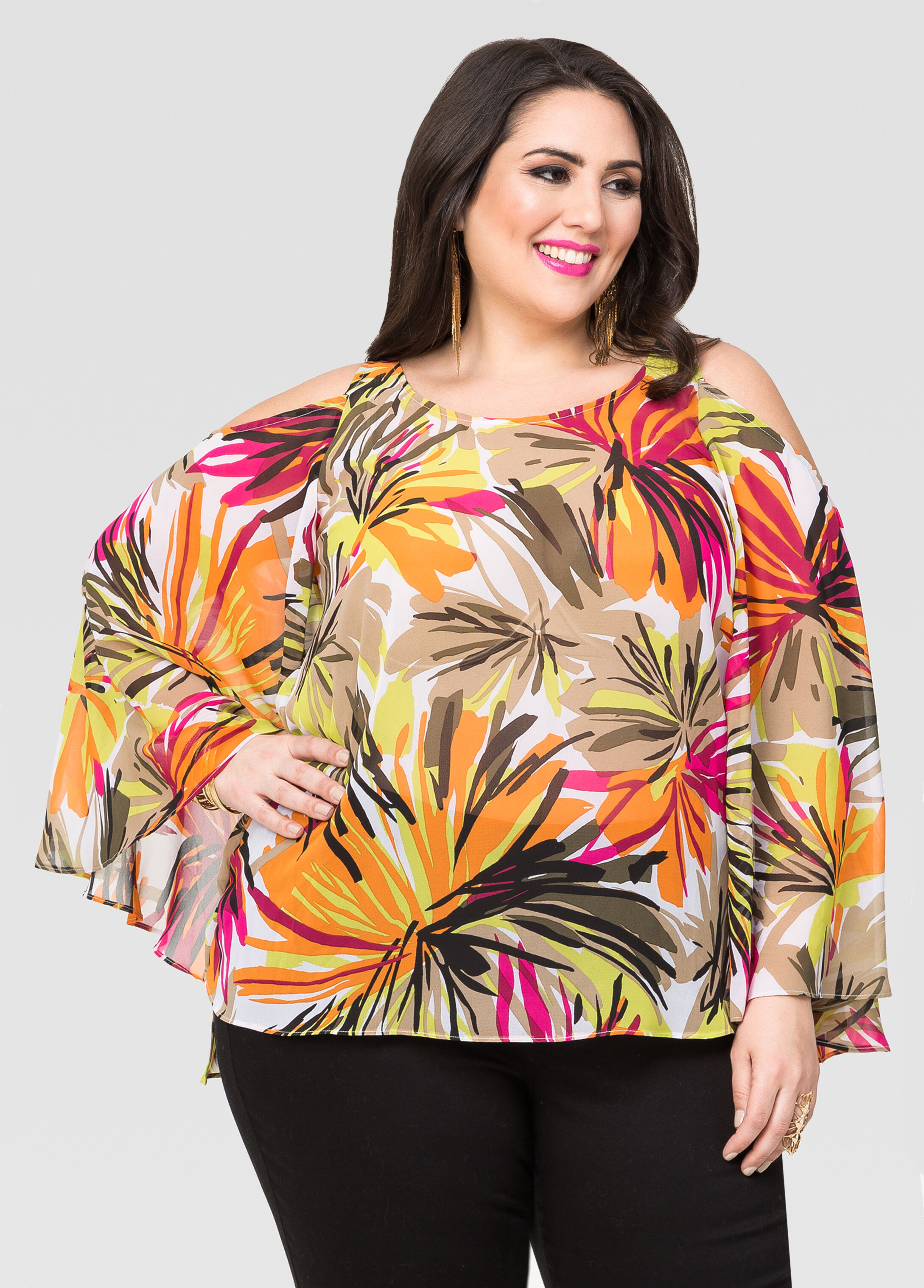 Tropical Cold Shoulder Blouse