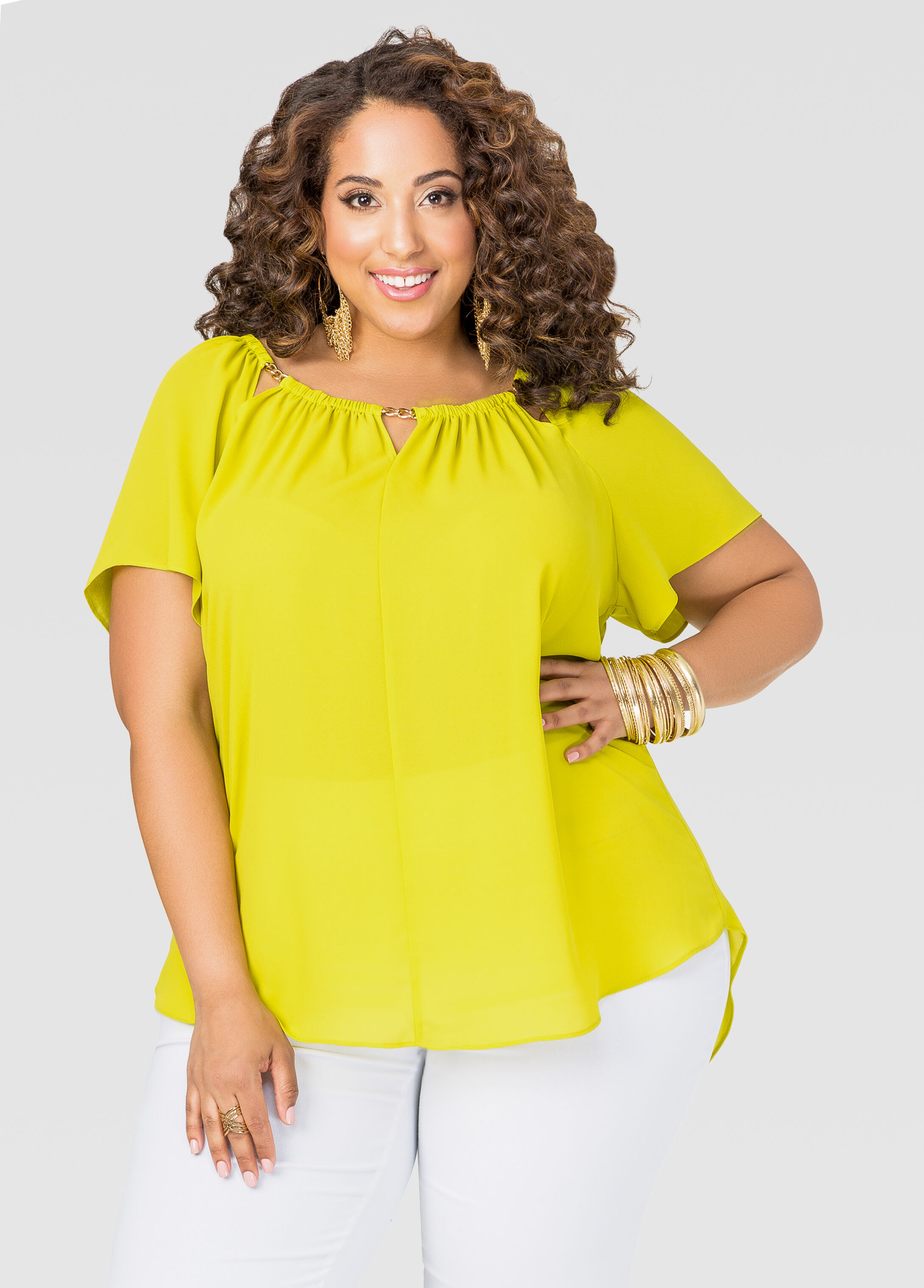 Chain Neck Hi-Lo Blouse