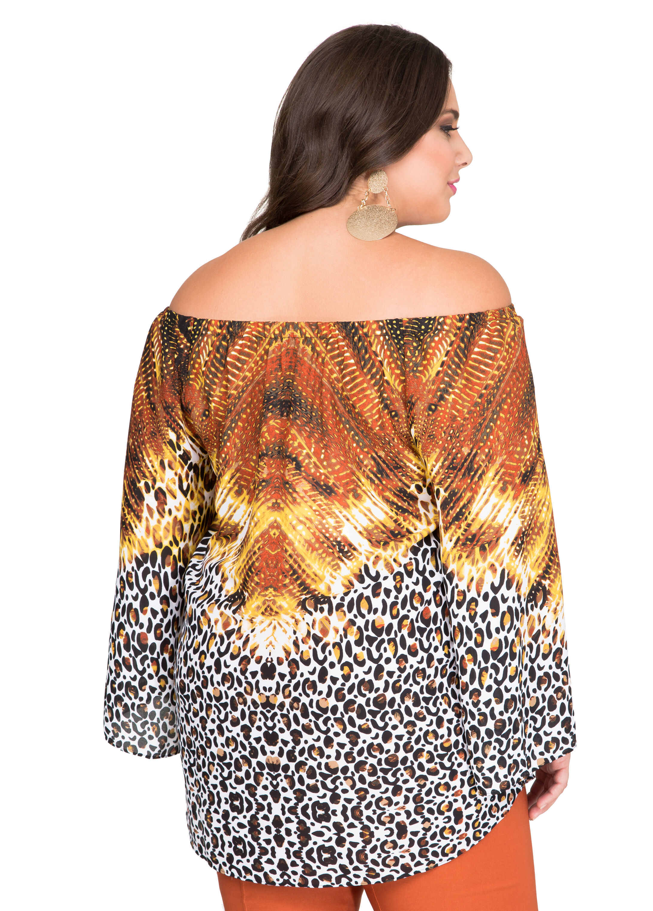 Mixed Print Off-Shoulder Blouse