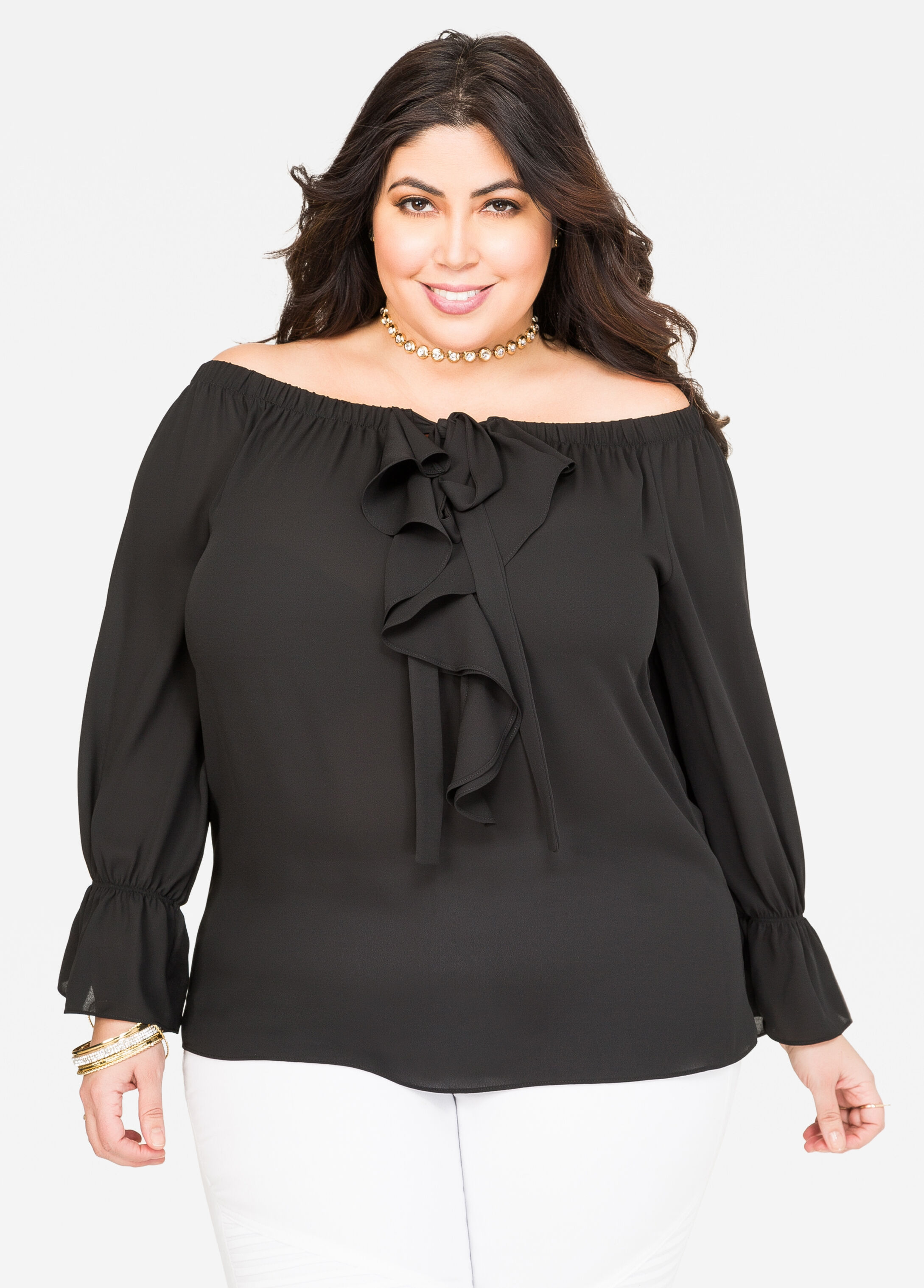 Off-Shoulder Ruffle Front Blouse Black - Clearance