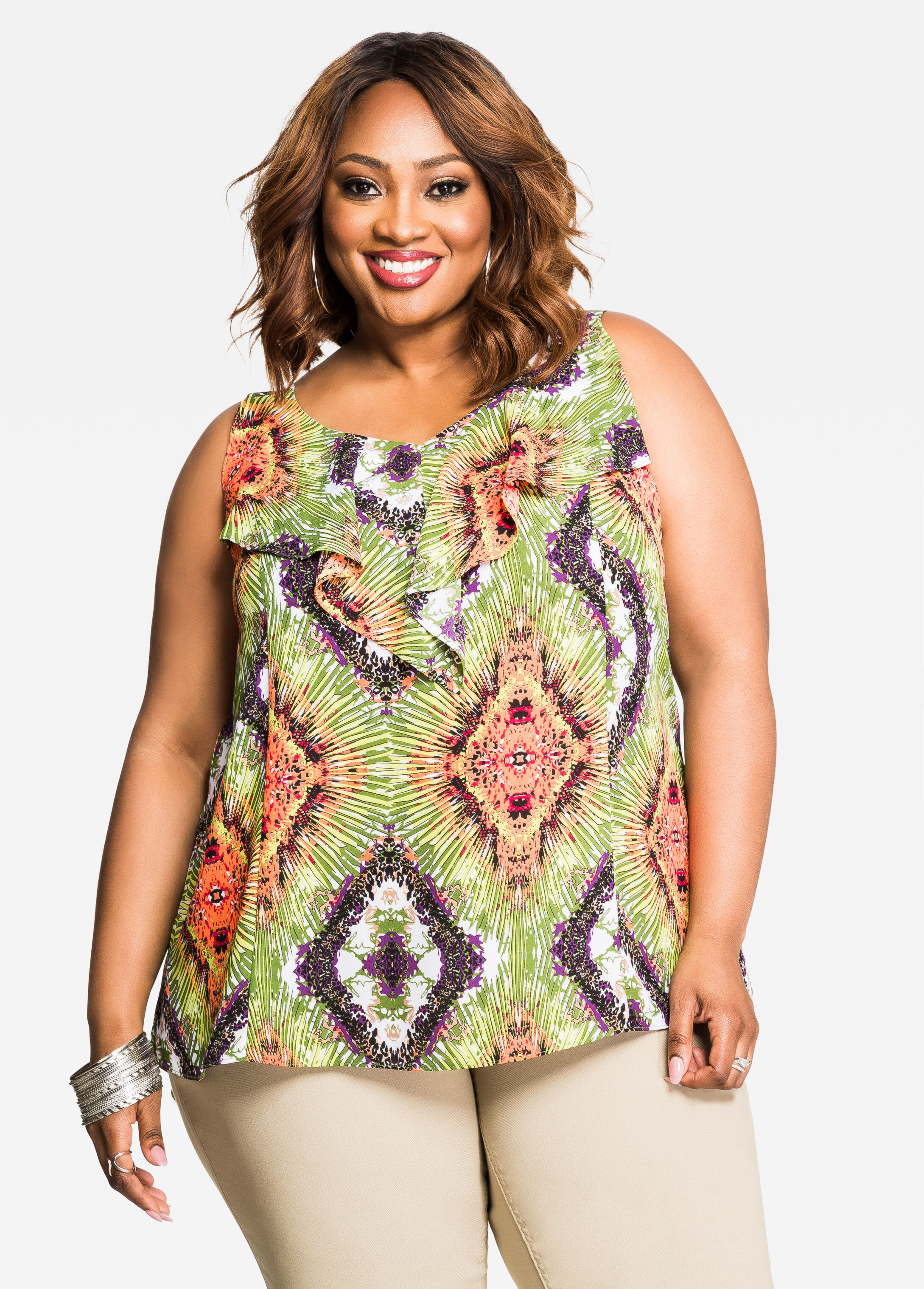 Abstract Tropical Print Ruffle Front Top