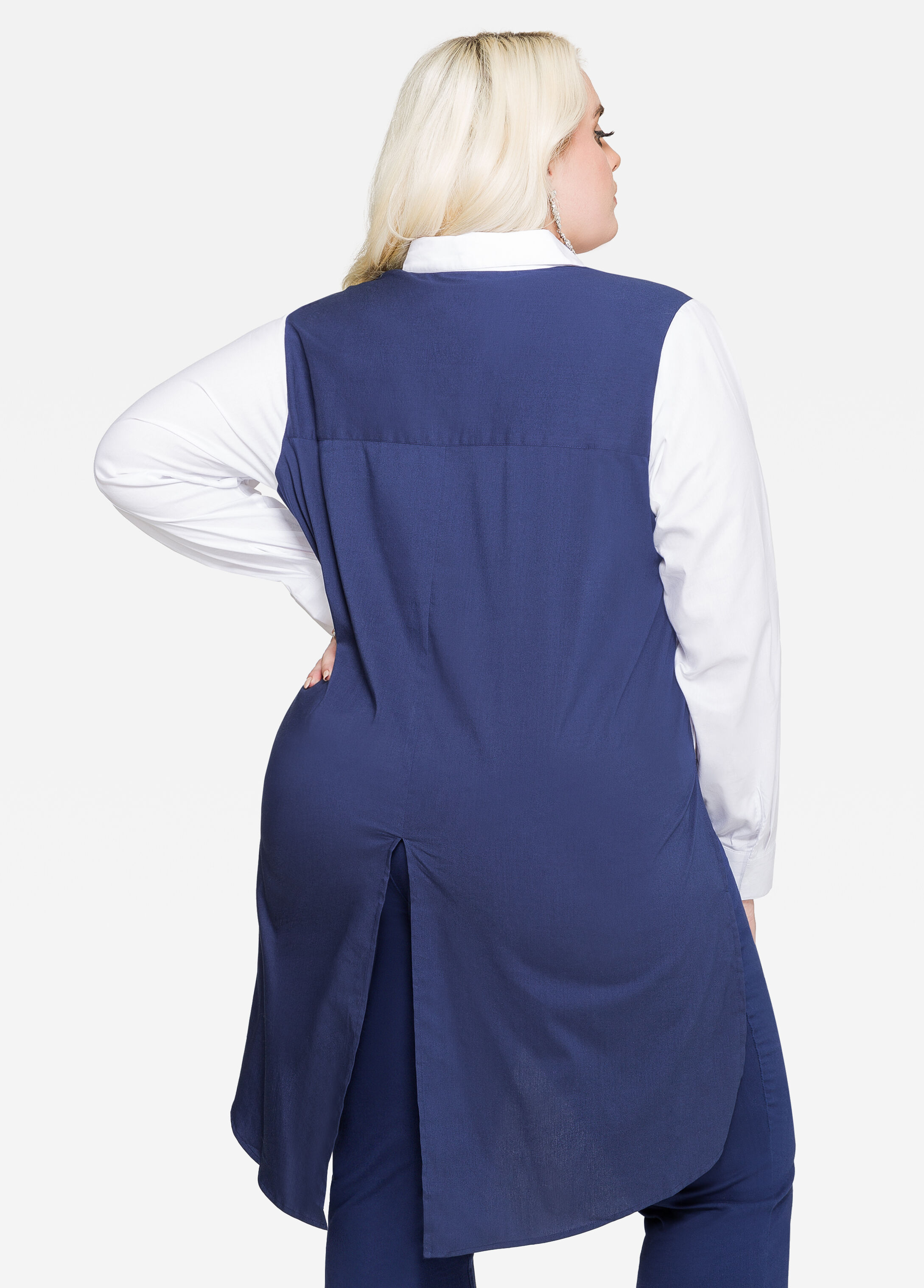 Split Back Tie Front Colorblock Shirt