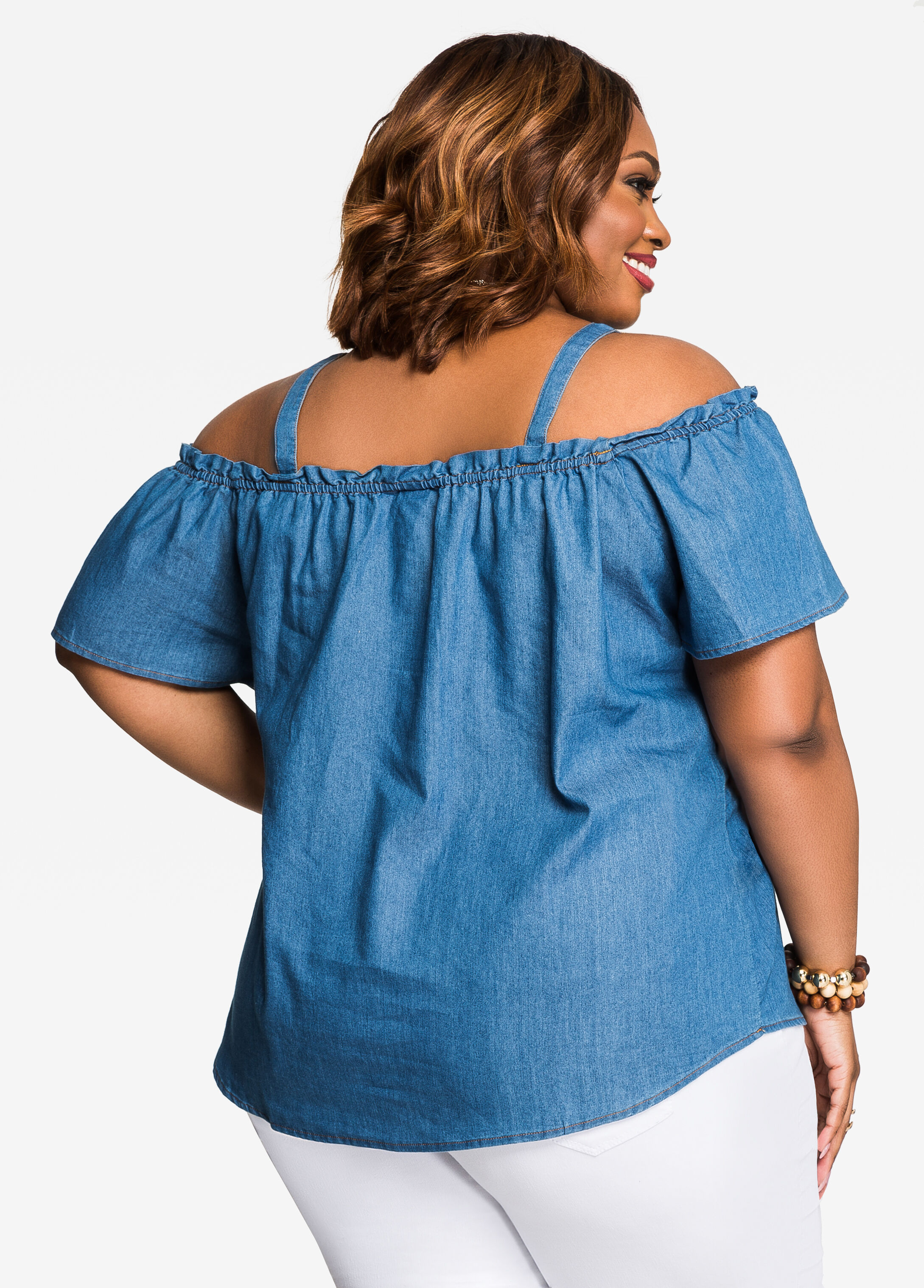 Button Front Chambray Cold Shoulder Top