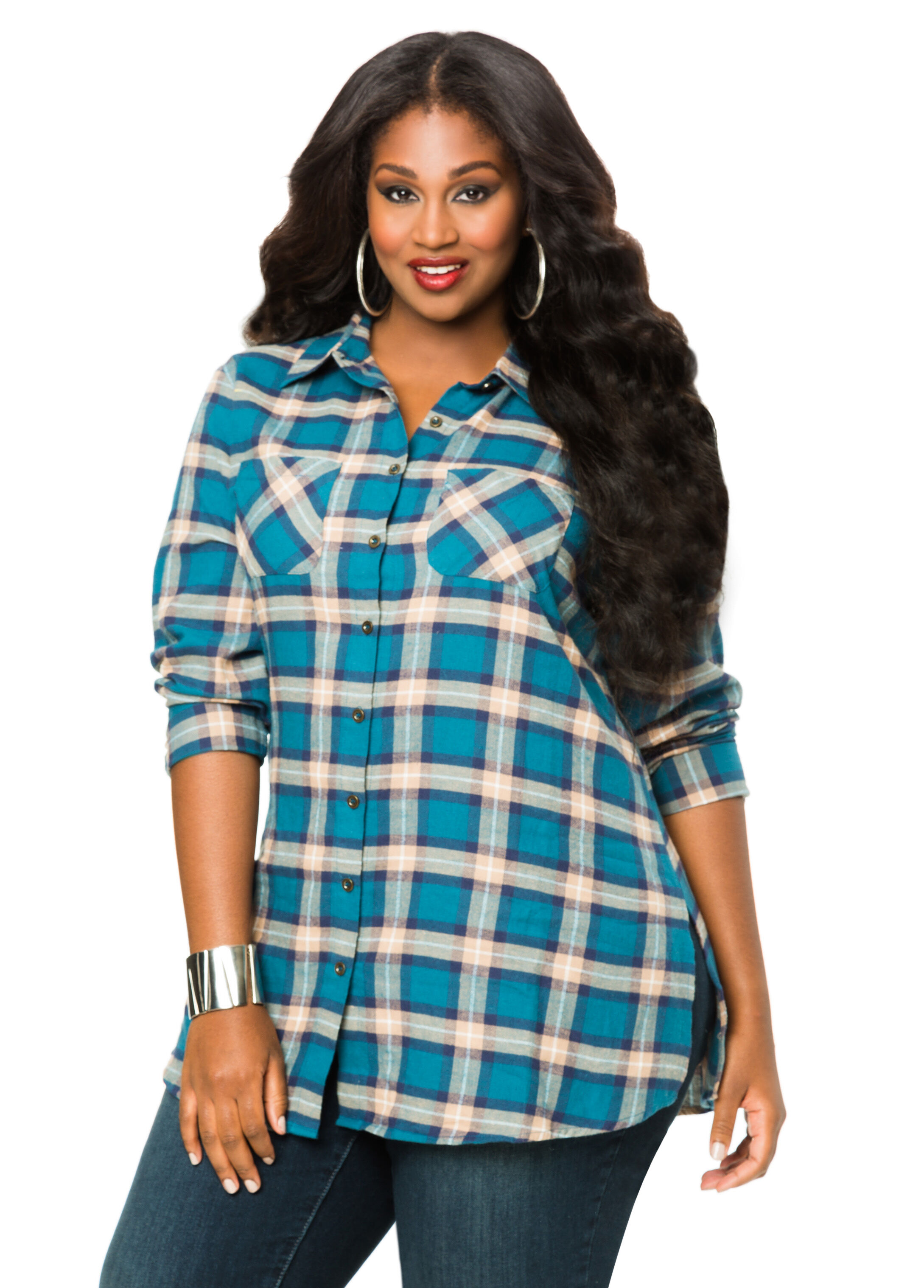 Women's Plus Plaid Flannel Tunic by Blair, Size 2XL. Long Collar Shirts & Tops by Blair. Comes in Multi, Size 2XL. Our softest flannel joins classic plaid styling for a terrific value-priced top! Banded collar, button cuffs, shirttail hem. Approx. 30L.