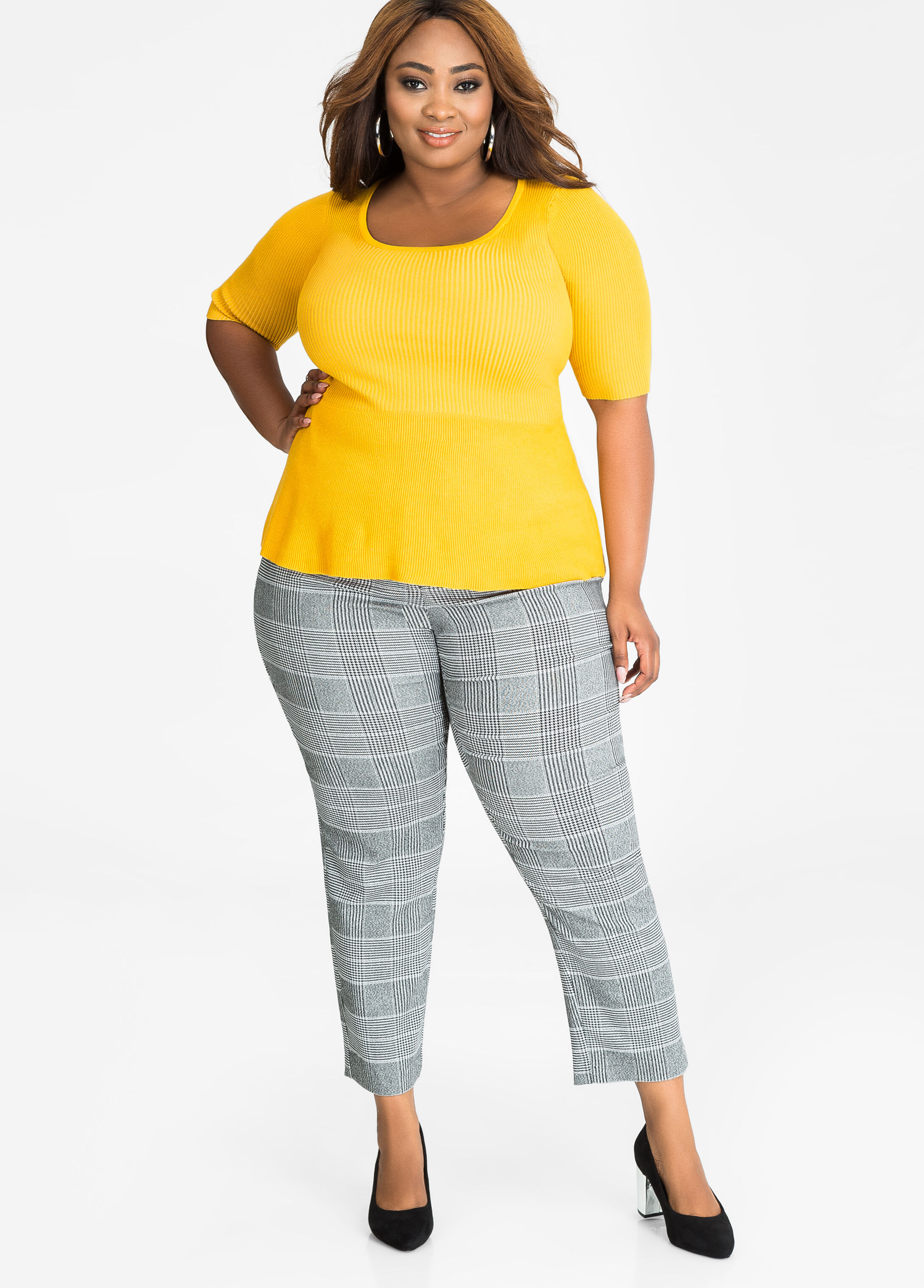 Glen Plaid Houndstooth Ankle Pant