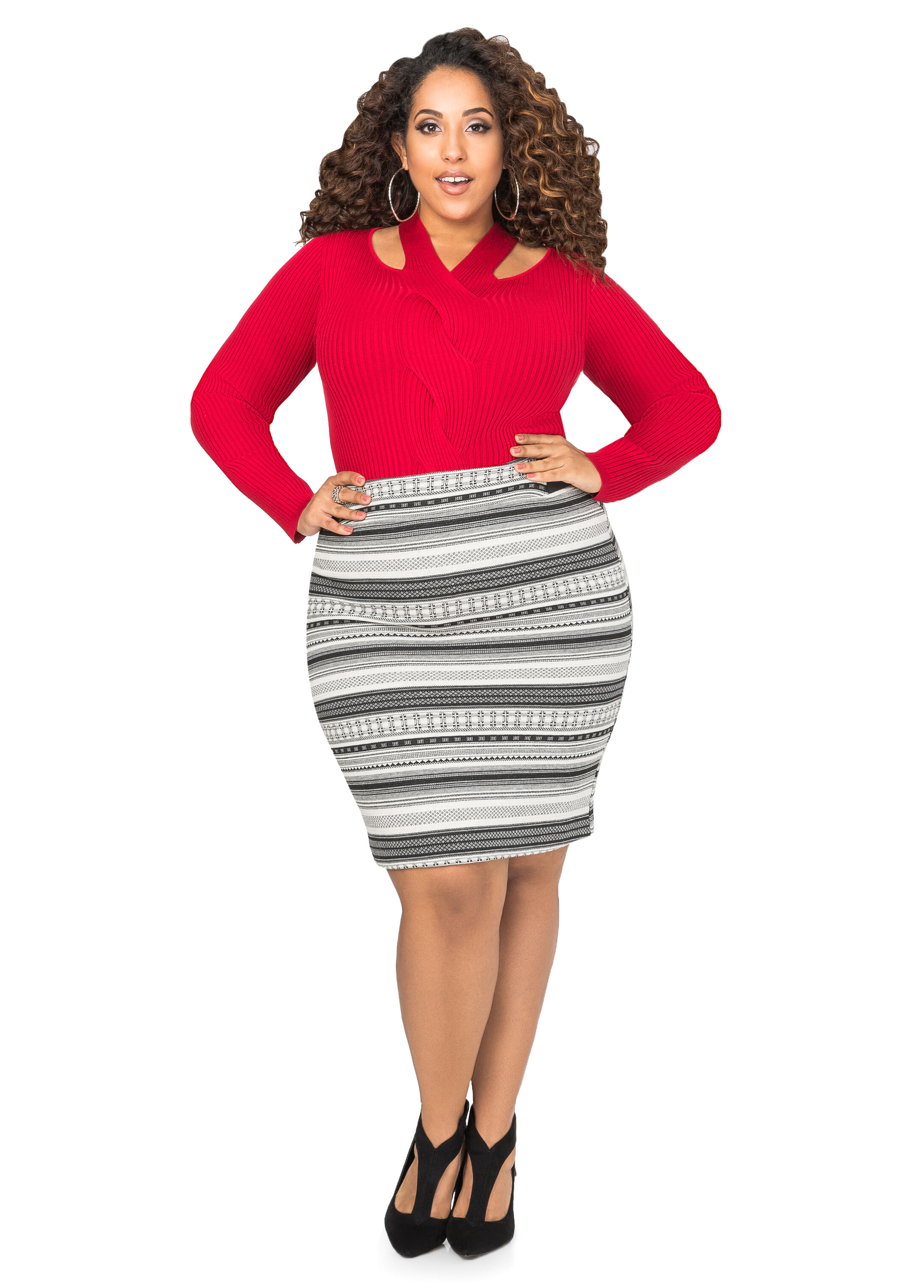 Tribal Jacquard Pencil Skirt