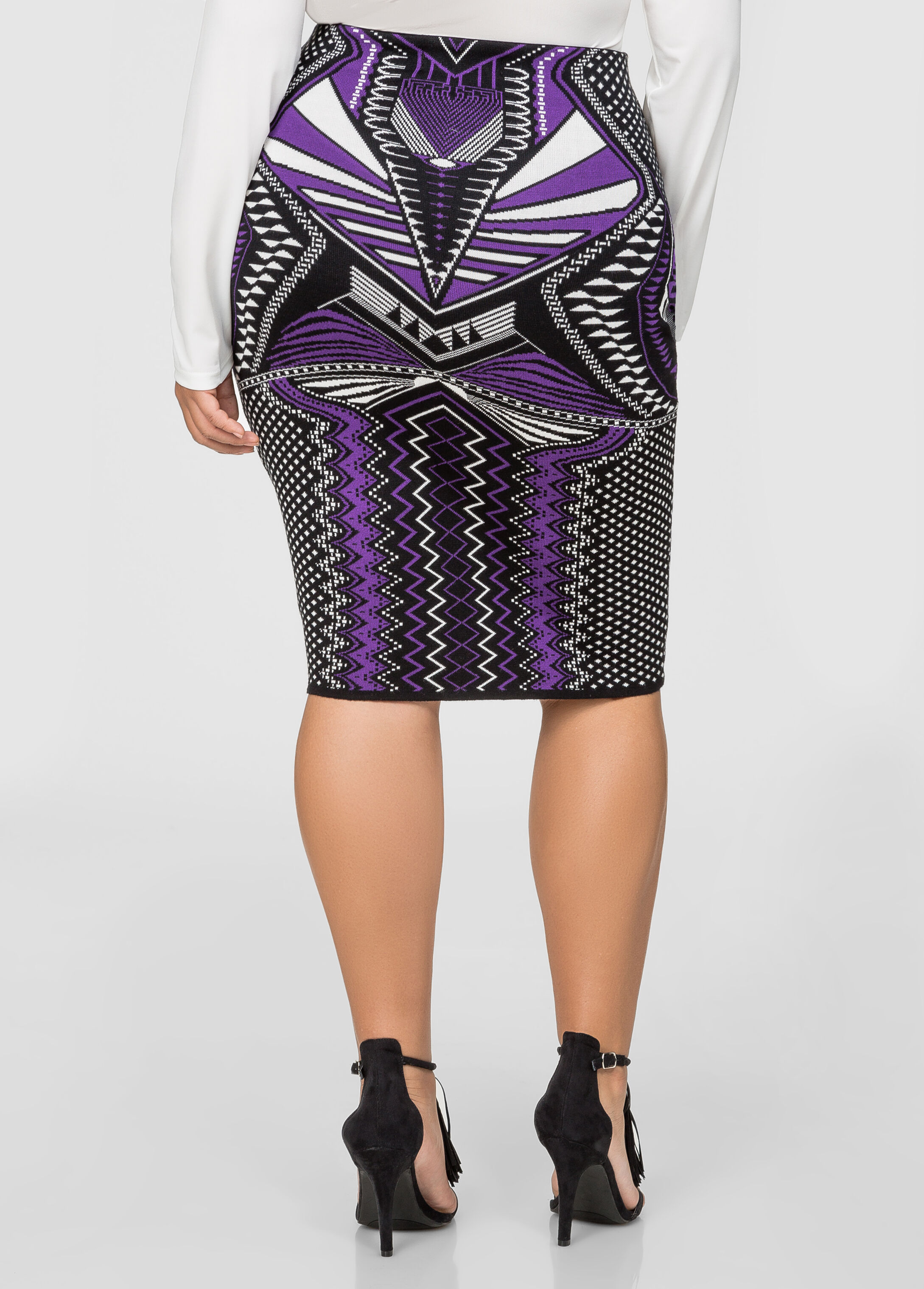 Bodycon Knit Jacquard Pencil Skirt