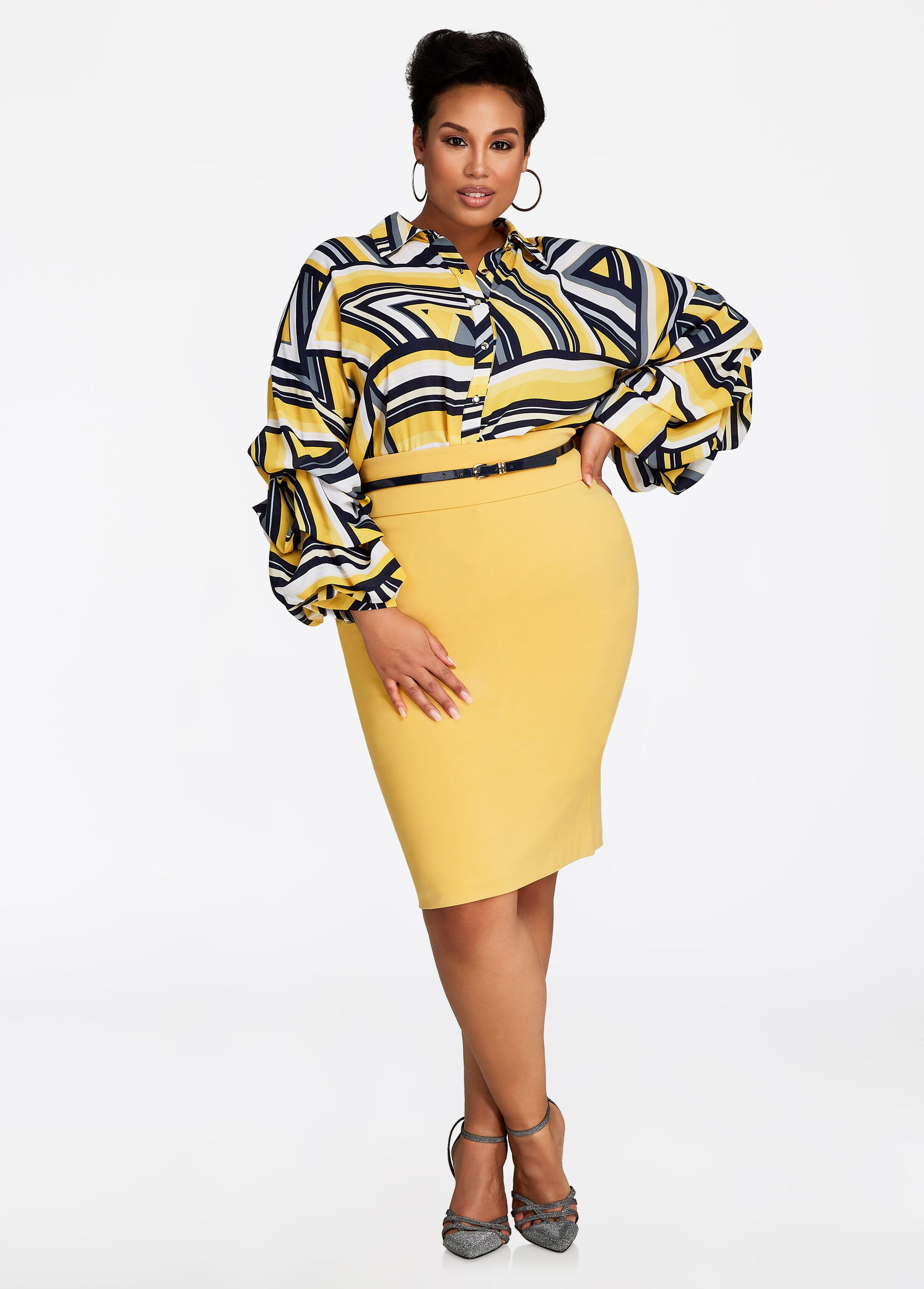 Ponte Pencil Skirt With Belt