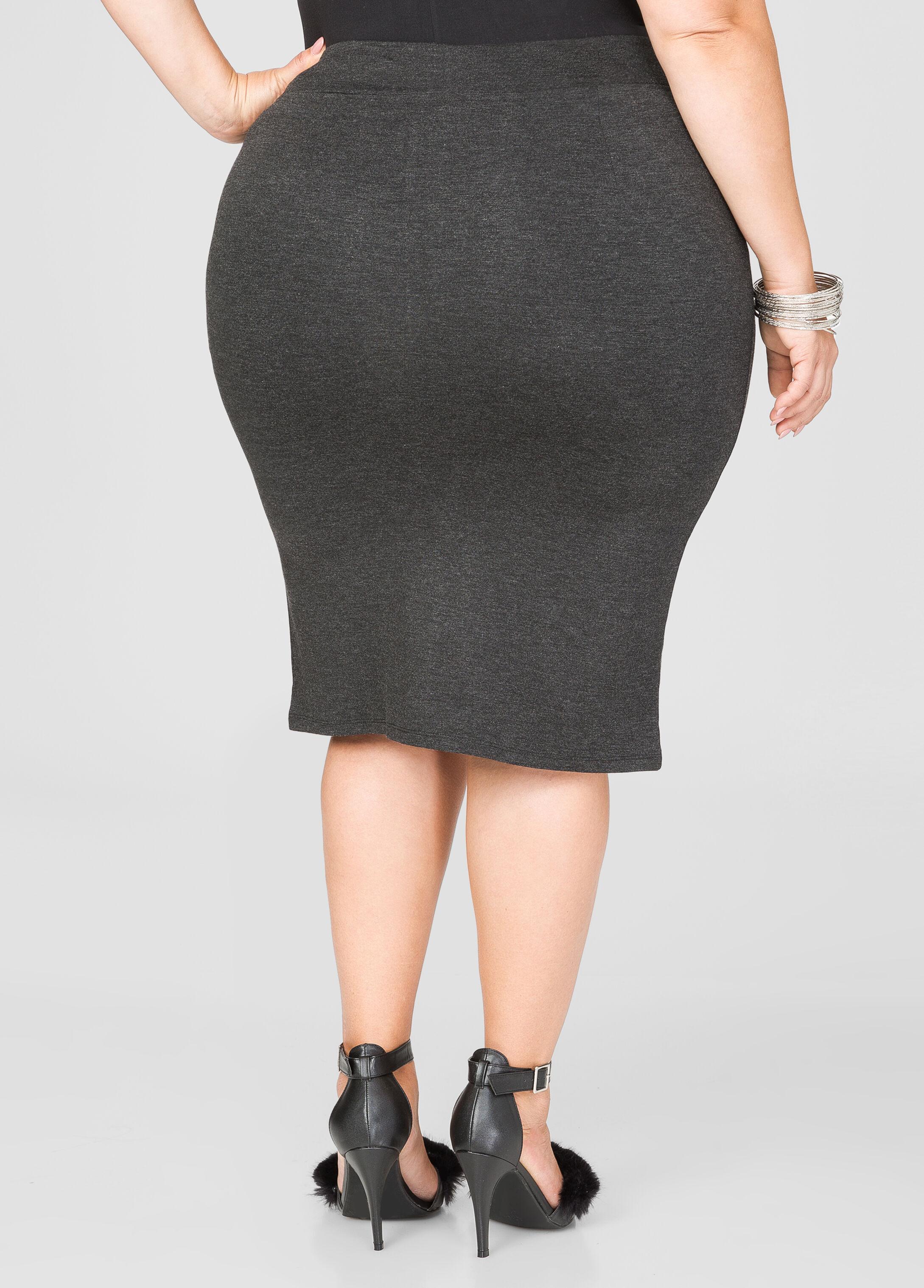 Zip Front Ponte Pencil Skirt