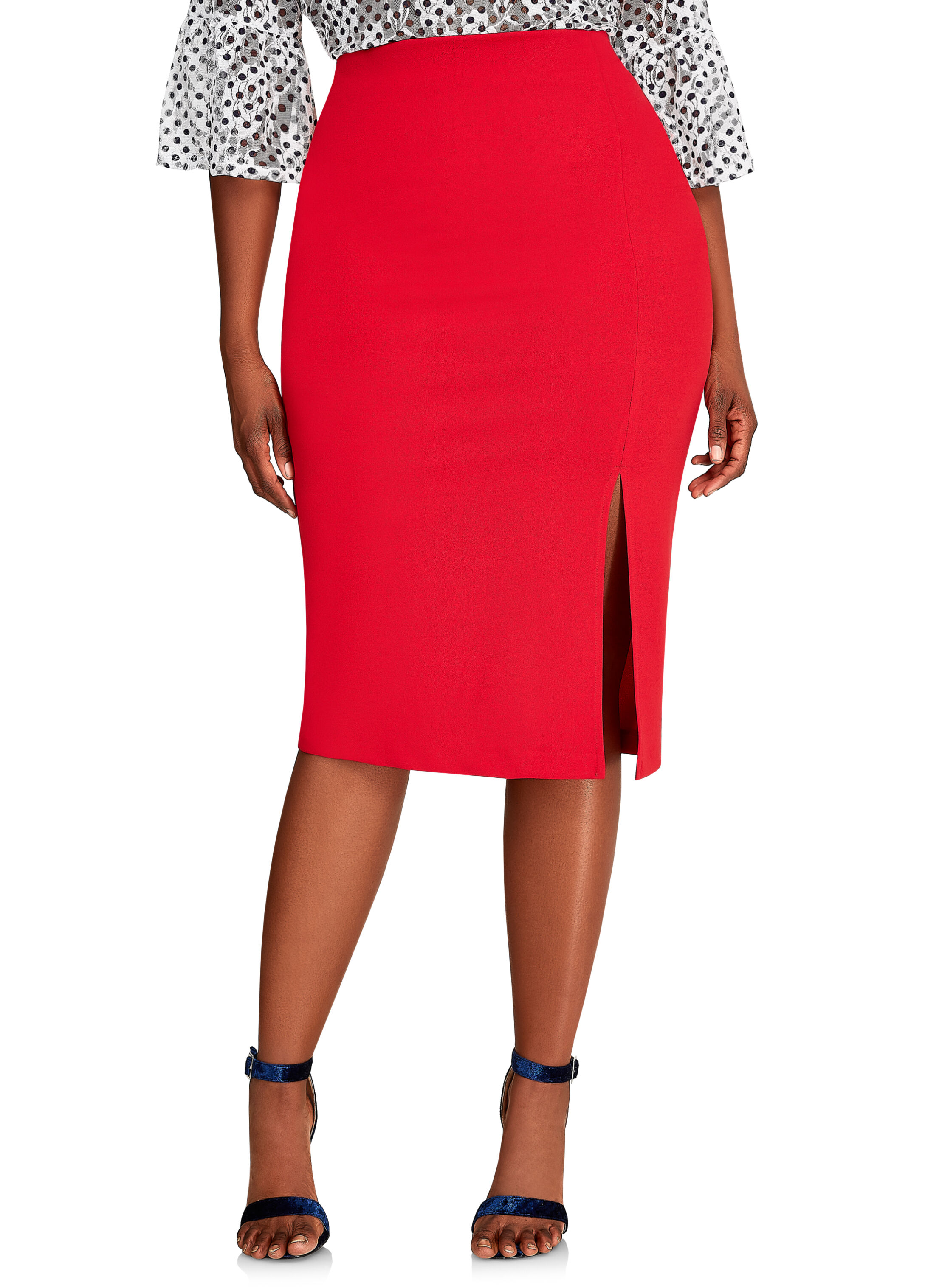 Midi Skirt With Front Side Slit